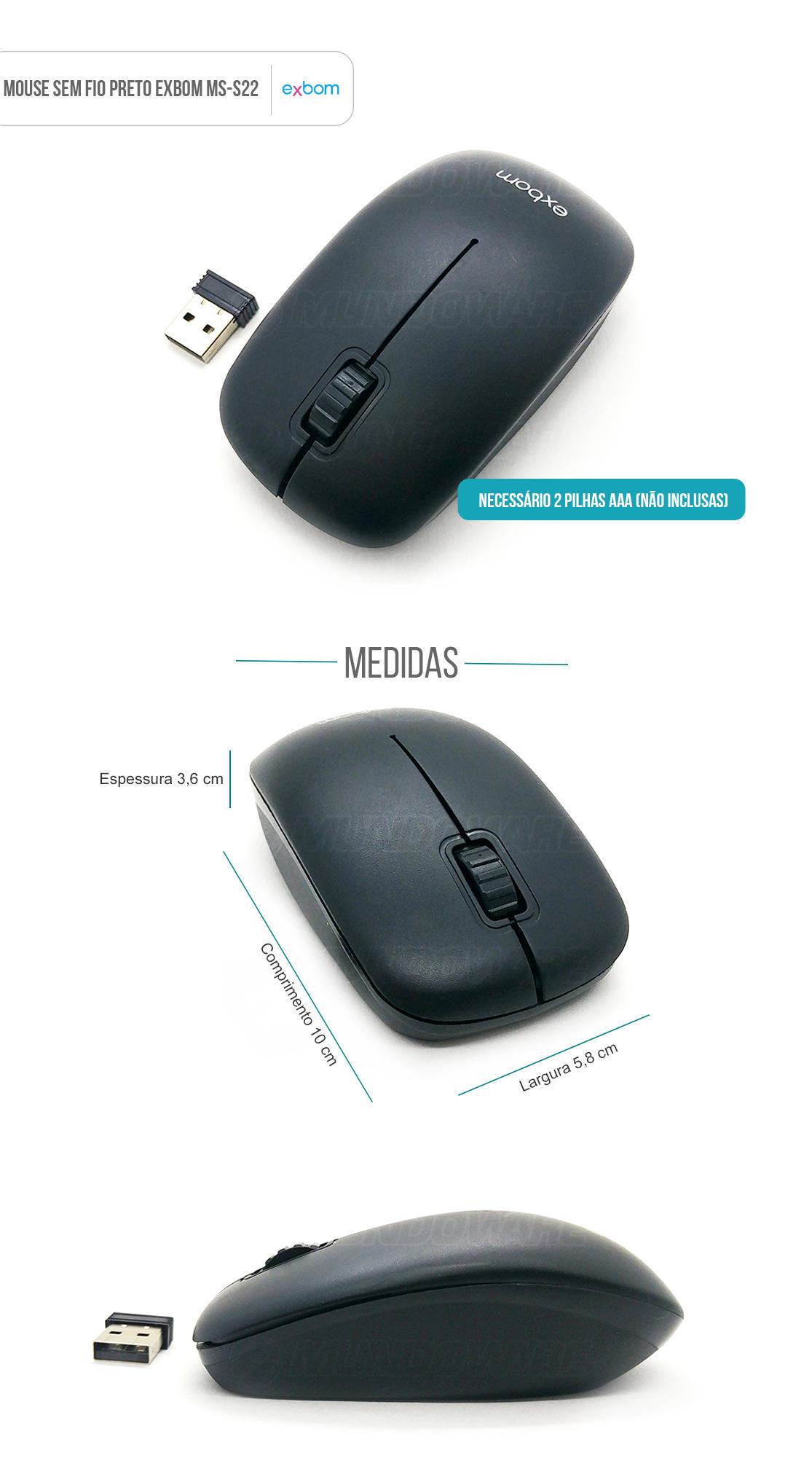 Mouse sem fio preto com scroll exbom