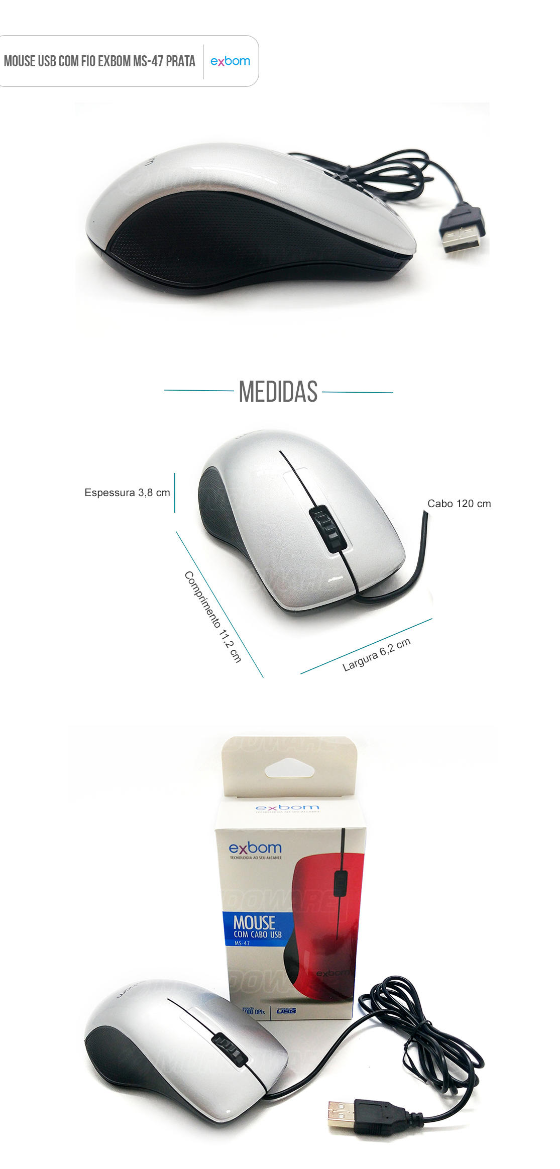 Mouse usb com fio sensor optico com scroll Prata piano