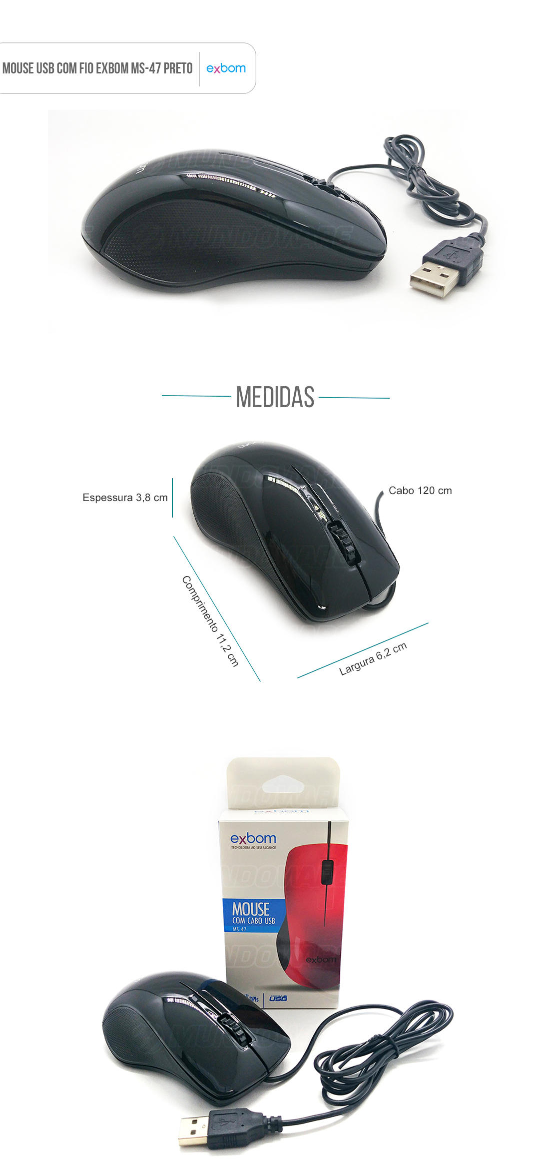 Mouse usb com fio sensor optico com scroll Preto piano