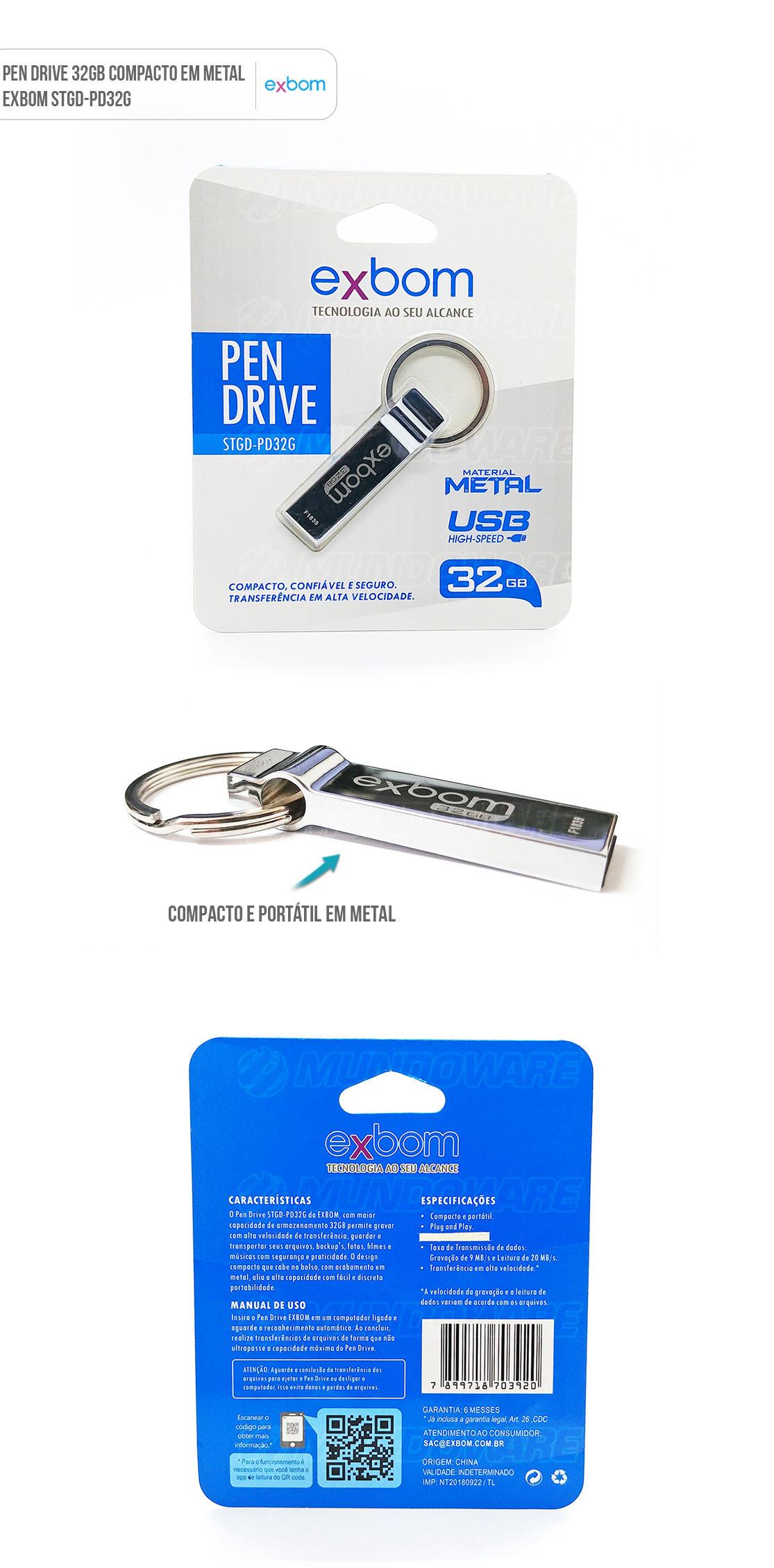 Pendrive 32GB compacto em metal prateado