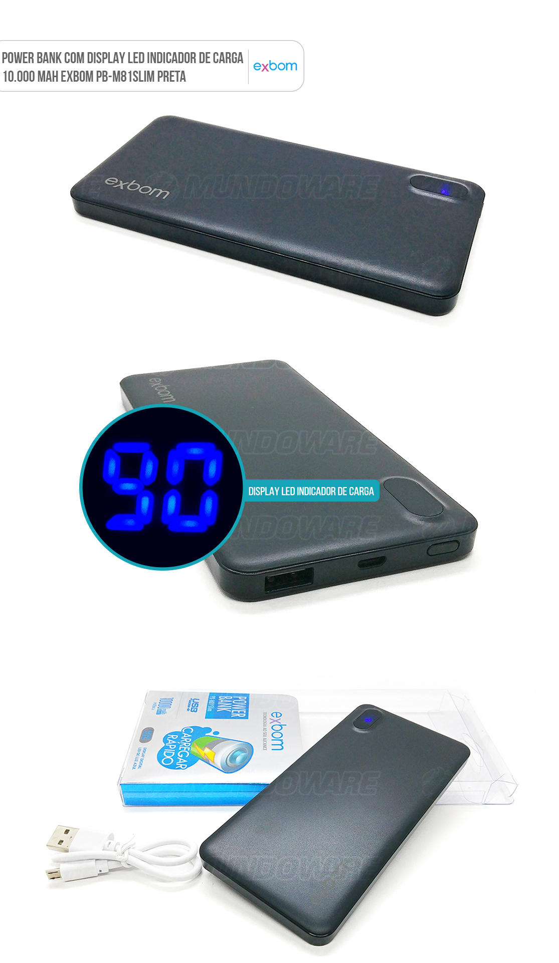 Carregador Portátil Universal Preto para Celular de 10000mah com LED indicador de carga