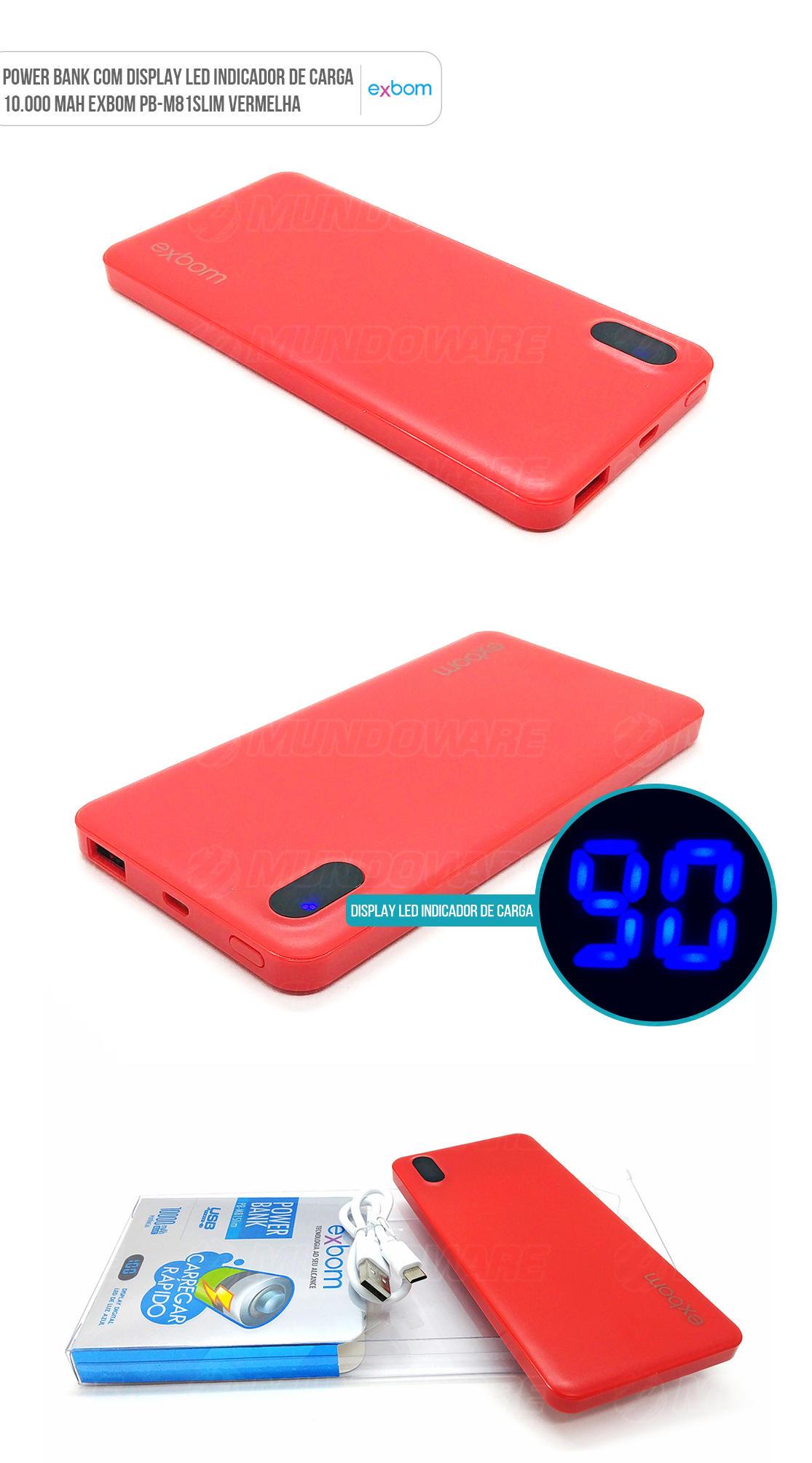 Carregador Portátil Universal Vermelho para Celular de 10000mah com LED indicador de carga