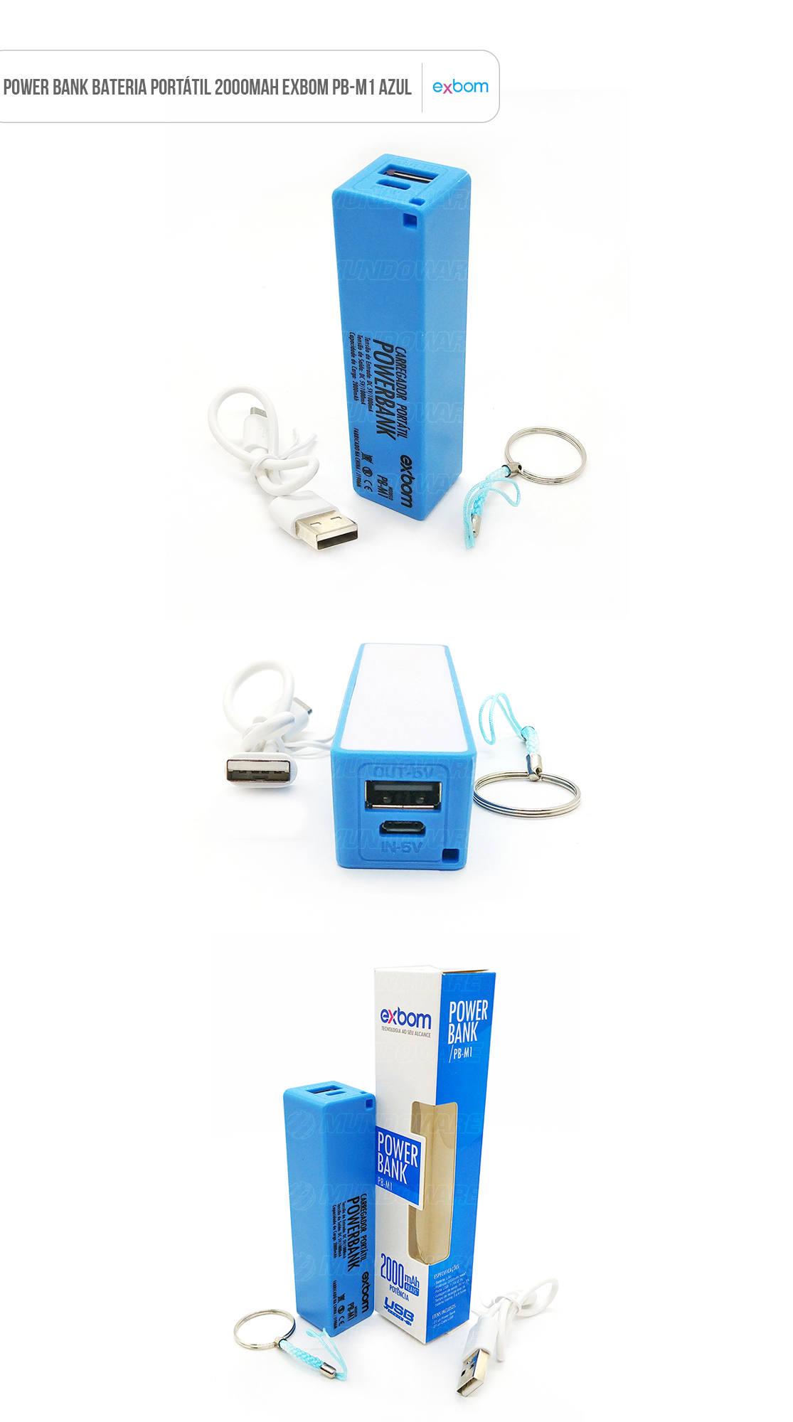 Power Bank Bateria Portátil 2000mAh azul Exbom PB-M1