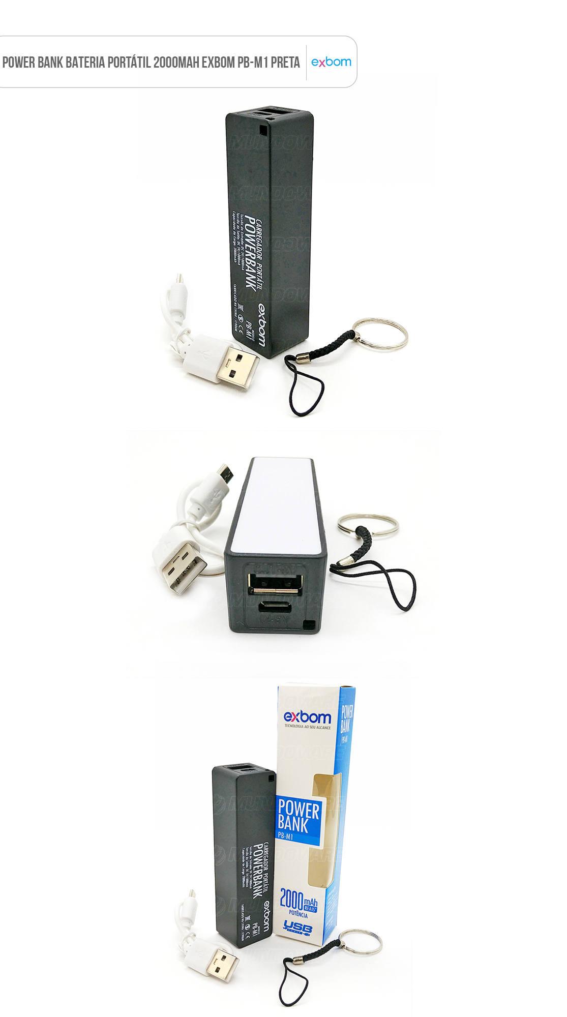 Power Bank Bateria Portátil 2000mAh Preta Exbom PB-M1