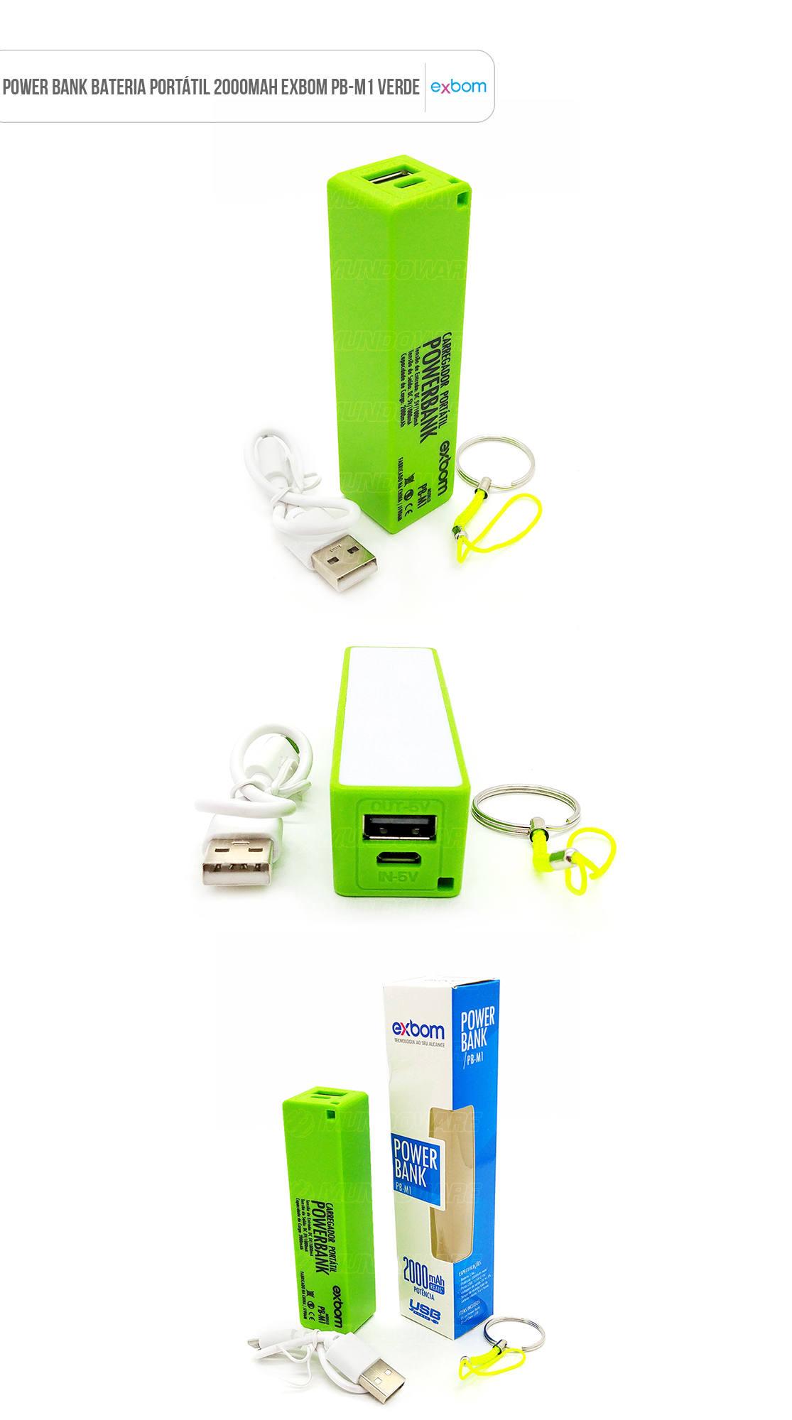 Power Bank Bateria Portátil 2000mAh Verde Exbom PB-M1