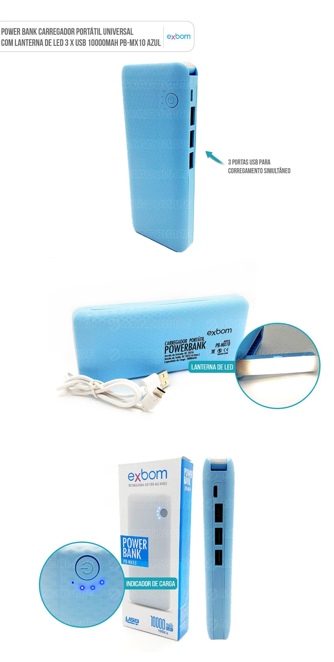 Power Bank Carregador Portátil Universal com lanterna de LED 3 x USB 10000mAh Azul
