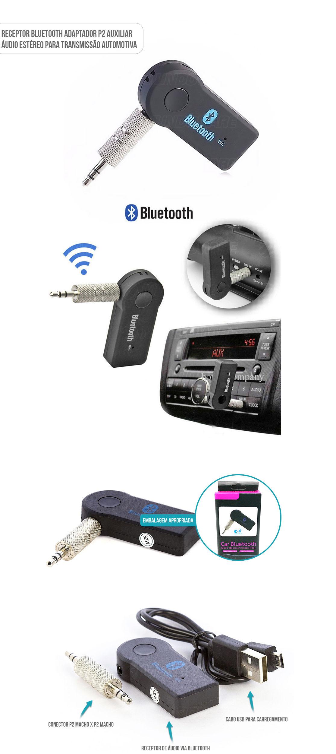 Receptor Bluetooth adaptador P2 auxiliar Áudio eStéreo para Transmissão Automotiva