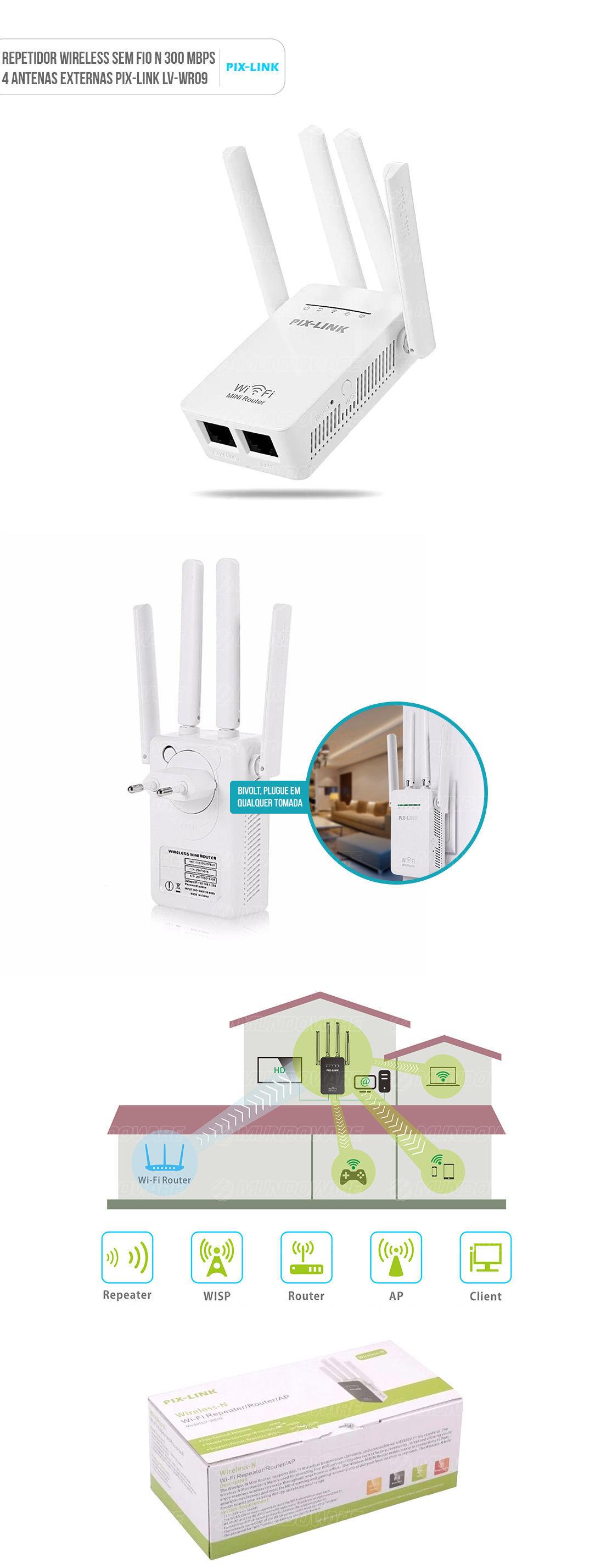 Repetidor Amplificador Wireless 300mbps de parede quatro antenas externas wifi