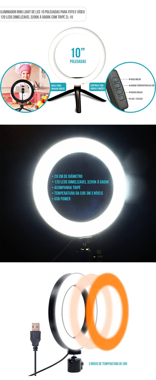 Iluminador Ring Light 10 polegadas de LED 3 tons de cores com tripe de mesa