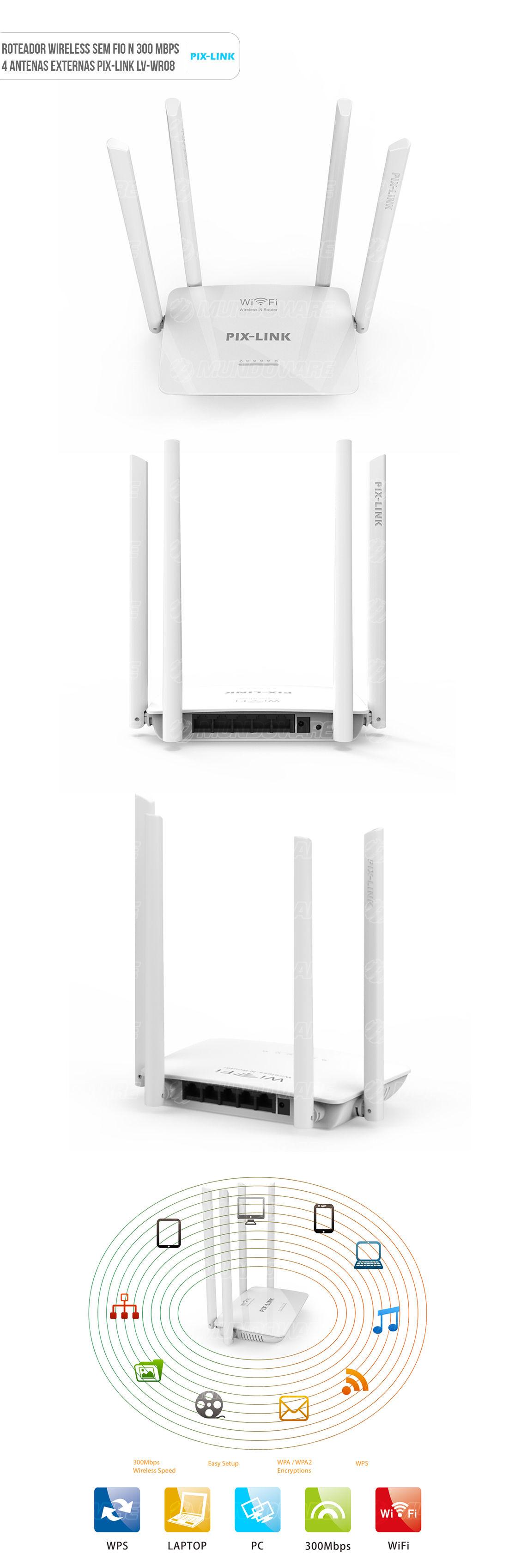 Roteador amplificador Wireless 300mbps 4 antenas externas wifi