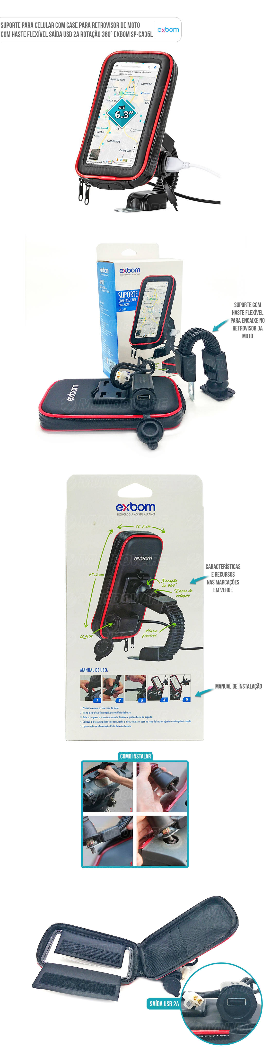 Suporte Case para Moto fixação no retrovisor para Smartphone Celular e GPS até 6.3 Polegadas com usb integrada para recarga