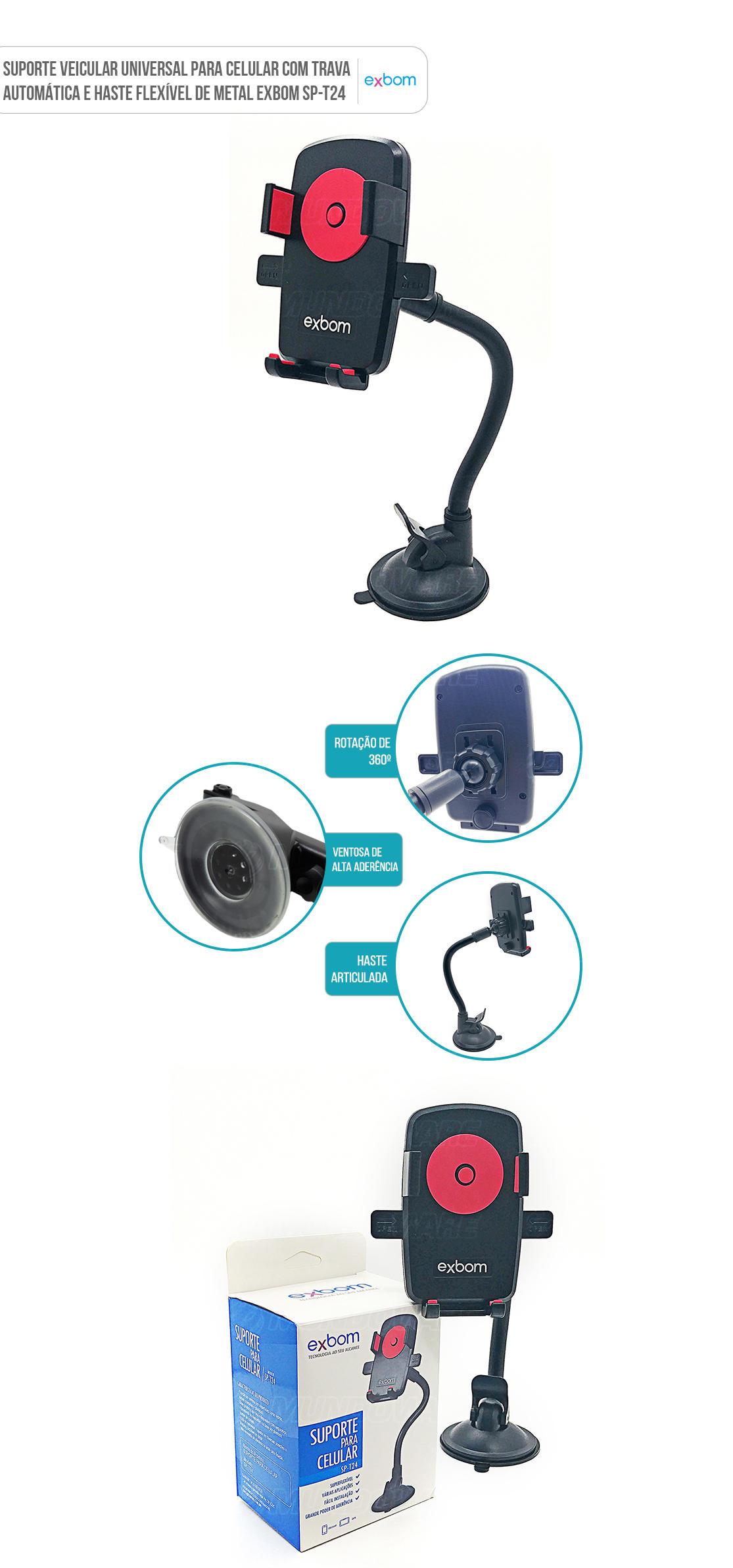 Suporte para carro de Celular GPS fixação com ventosa no painel ou parabrisa T24