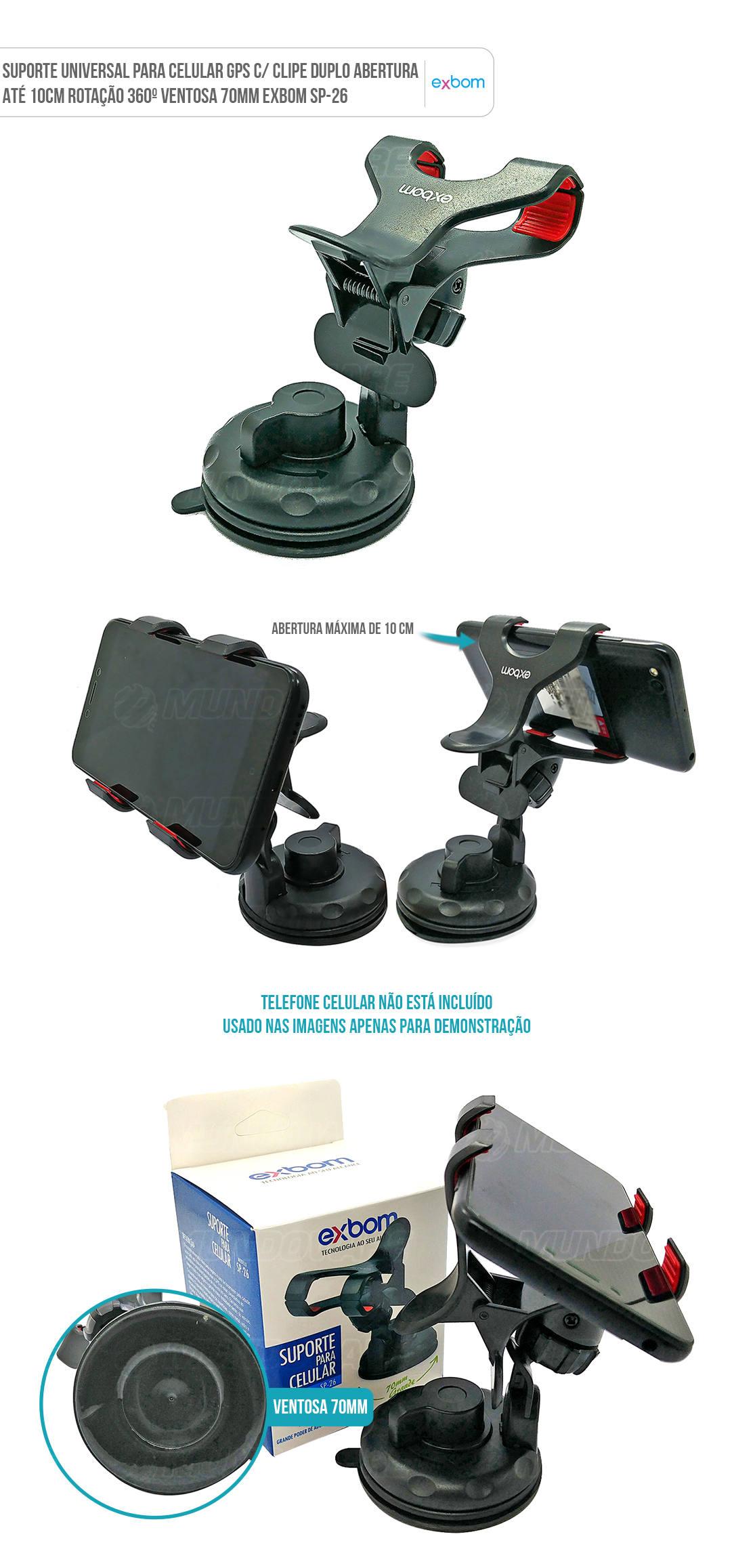 Suporte Universal para Celular GPS Clipe Duplo Abertura até 10cm Rotação 360 graus Ventosa 70mm de Sucção