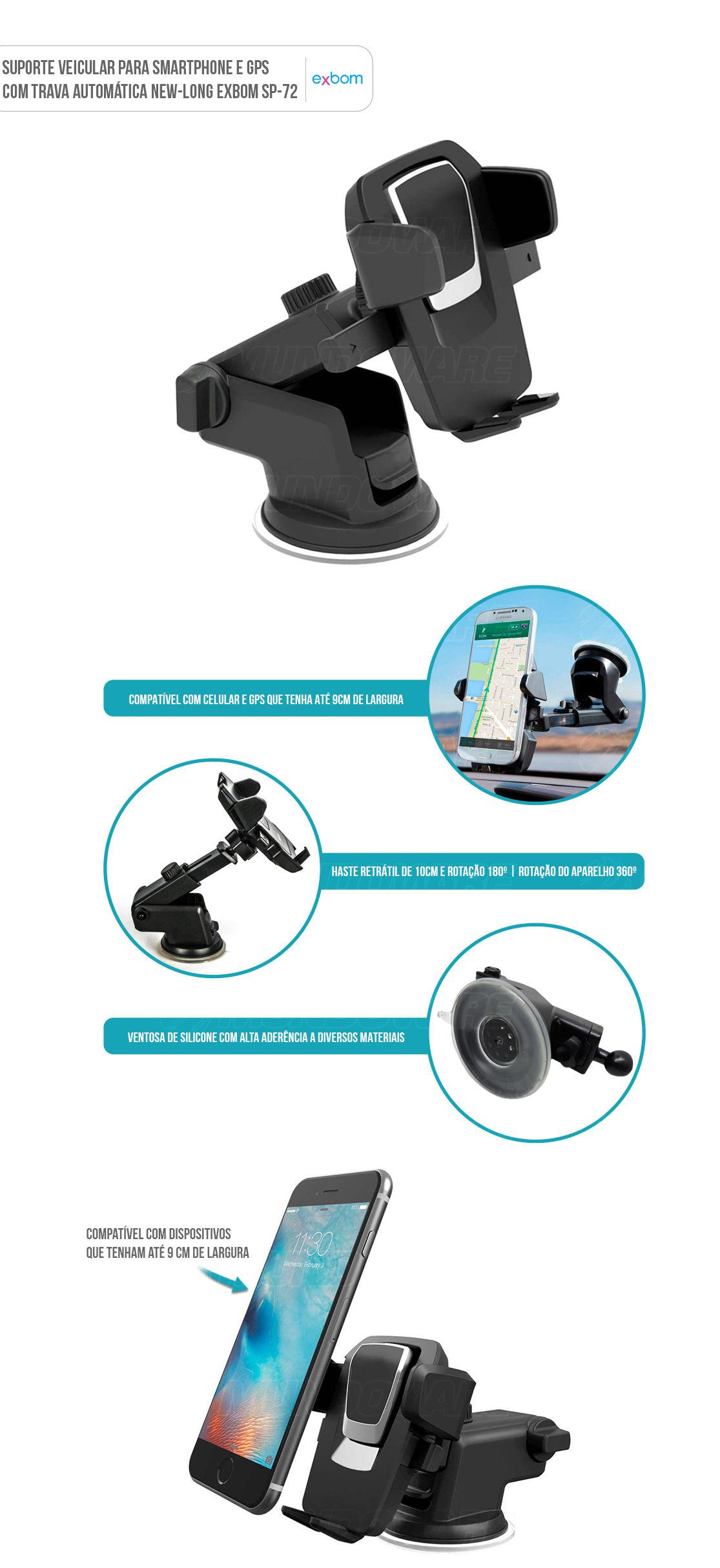 Suporte para Smartphone Celular GPS para Carro fixação com ventosa