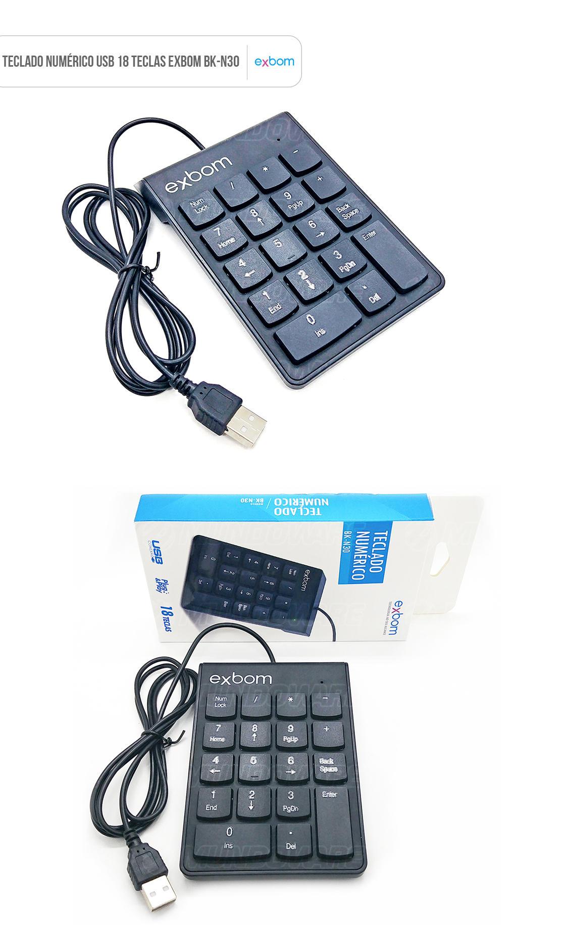 Teclado Numérico USB 18 Teclas Exbom BK-N30