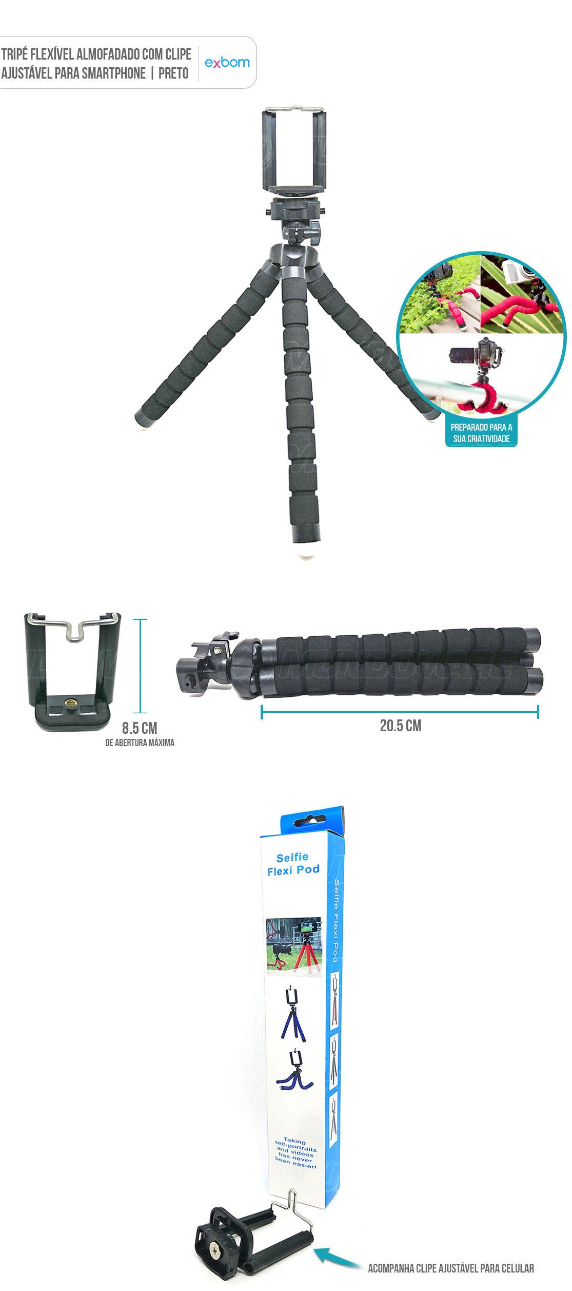 Tripé para fotografia almofadado flexível com clipe para celular