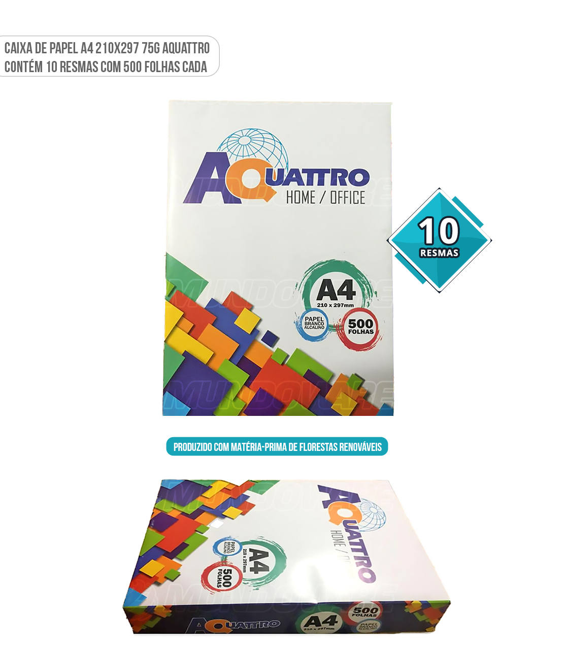 Caixa de Papel Sulfite A4 marca Aquattro