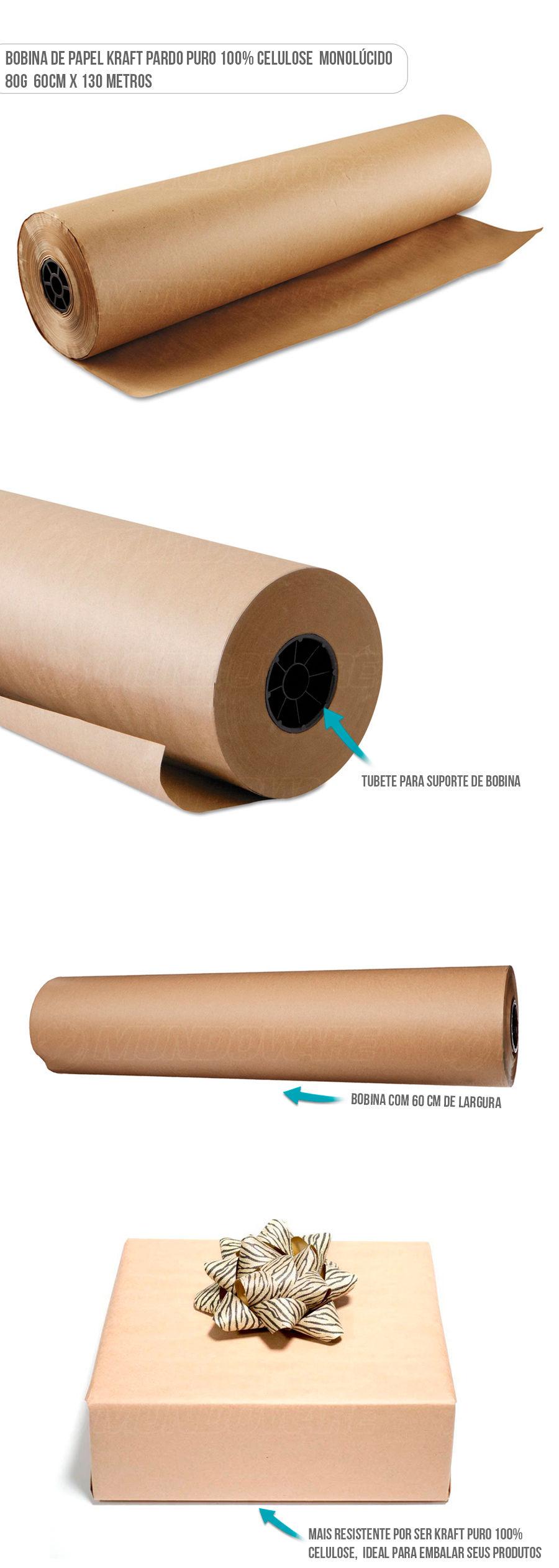 Papel Kraft Rolo Bobina pra embalagem de produtos 100% celulose