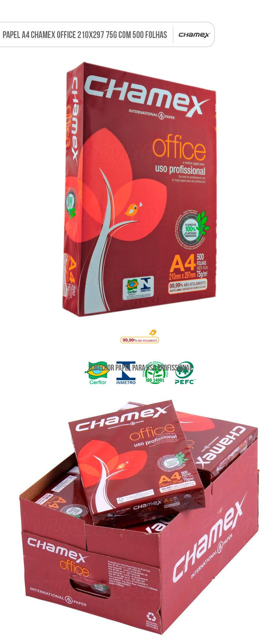 Papel A4 Sulfite Resma com 500 folhas Chamex Office