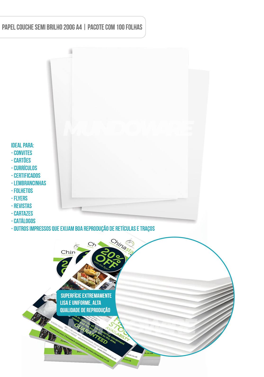 Papel Couchê Fosco 200g A4 Branco Premium com 100 Folhas