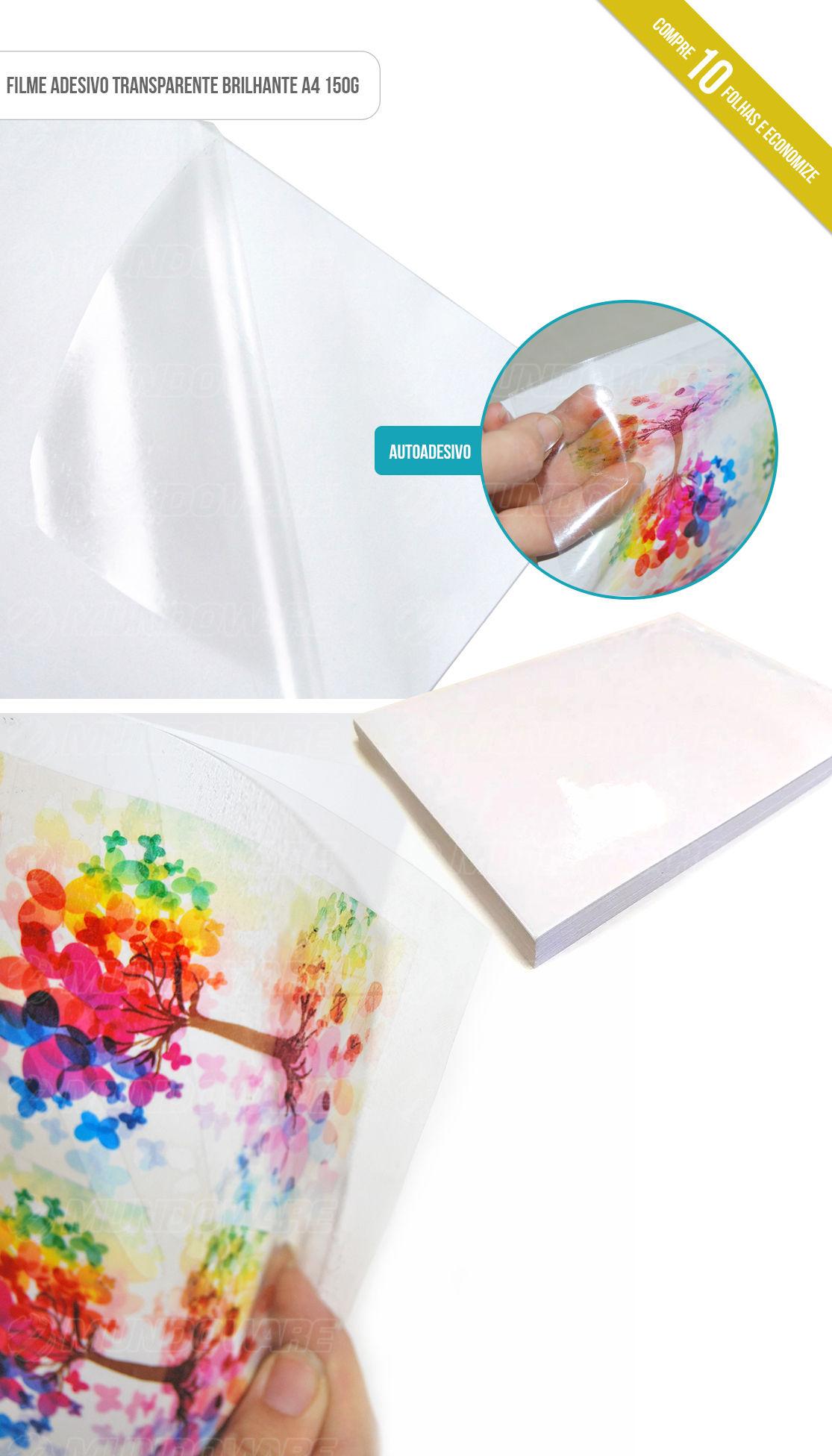 Papel Filme Transparente Brilhante Adesivo com 10 folhas A4 150g