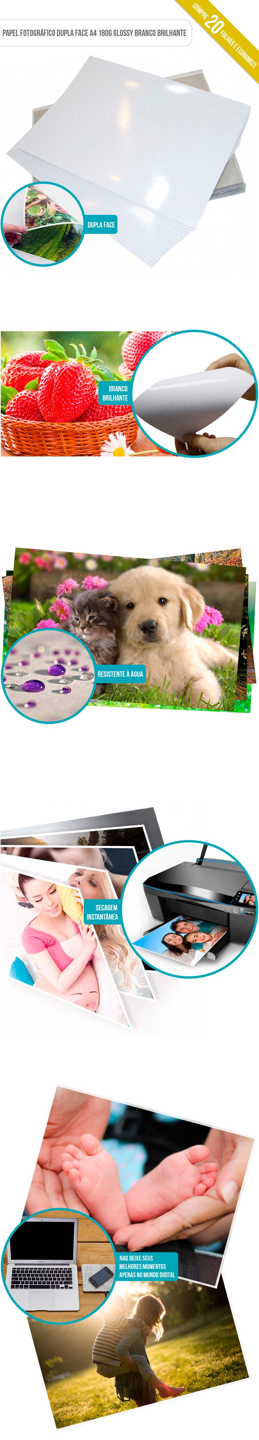 Papel Foto Dupla Face tamanho A4 180 gramatura Glossy Branco com Brilho