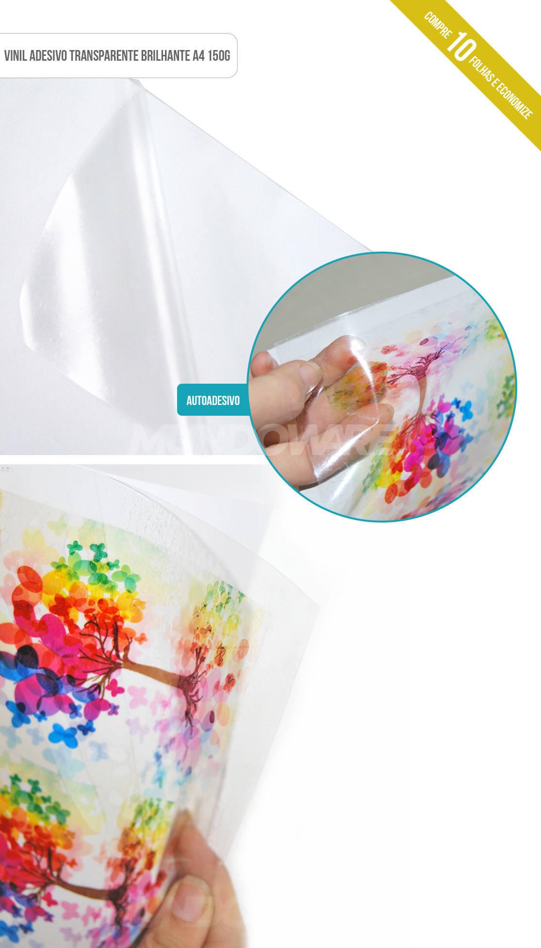 Papel vinil Transparente Brilhante Adesivo com 10 folhas A4 150g PVC adesivo