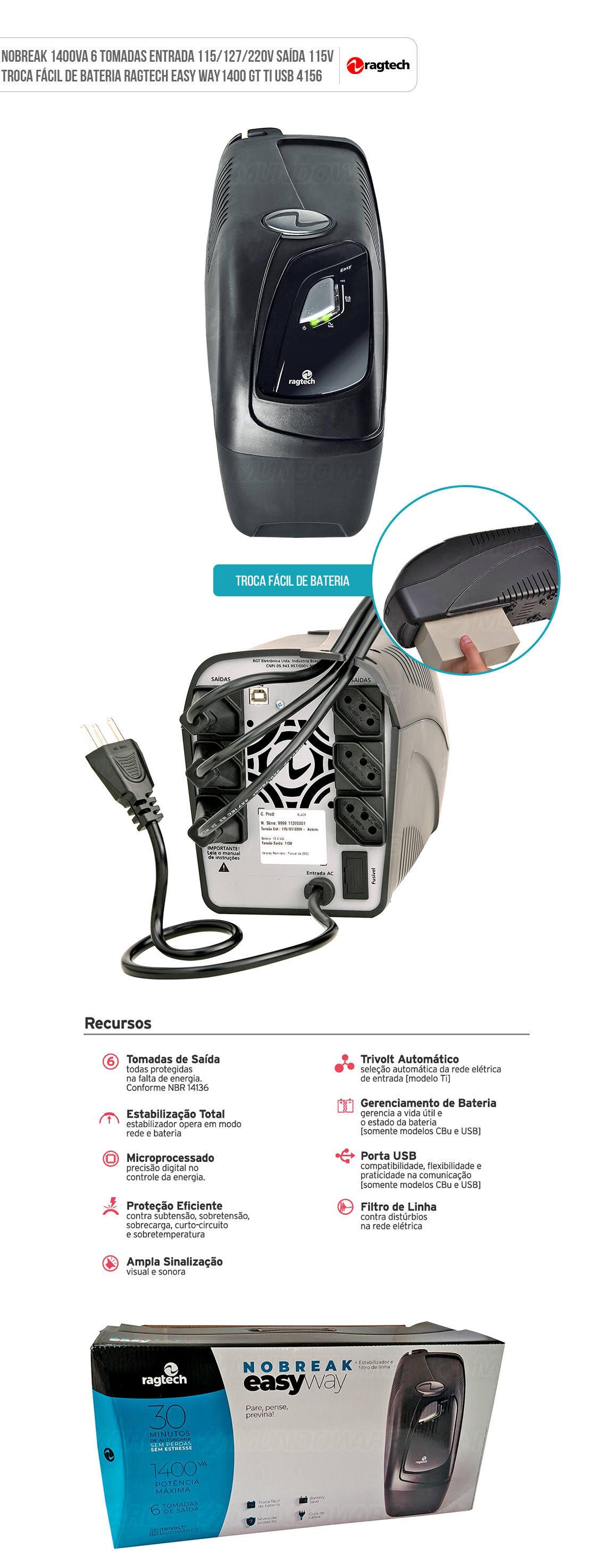Nobreak 1400VA 980W 6 Tomadas PWM USB Entrada 115/127/220V Saída 115V Troca Fácil de Bateria Ragtech 4156