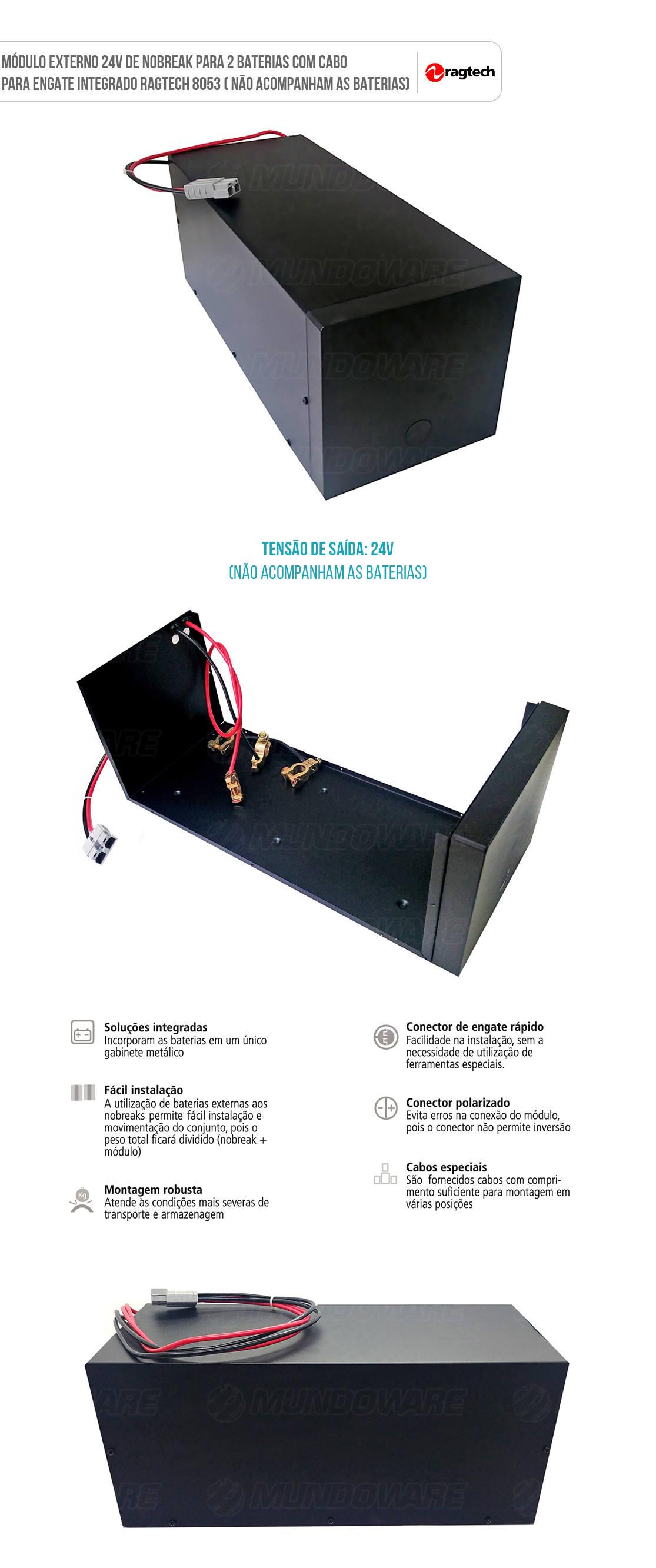 Módulo Externo 24V de Nobreak para 2 Baterias com Cabo para Conexão Integrado Ragtech MB 2 A40/27 8053 (Sem Baterias)