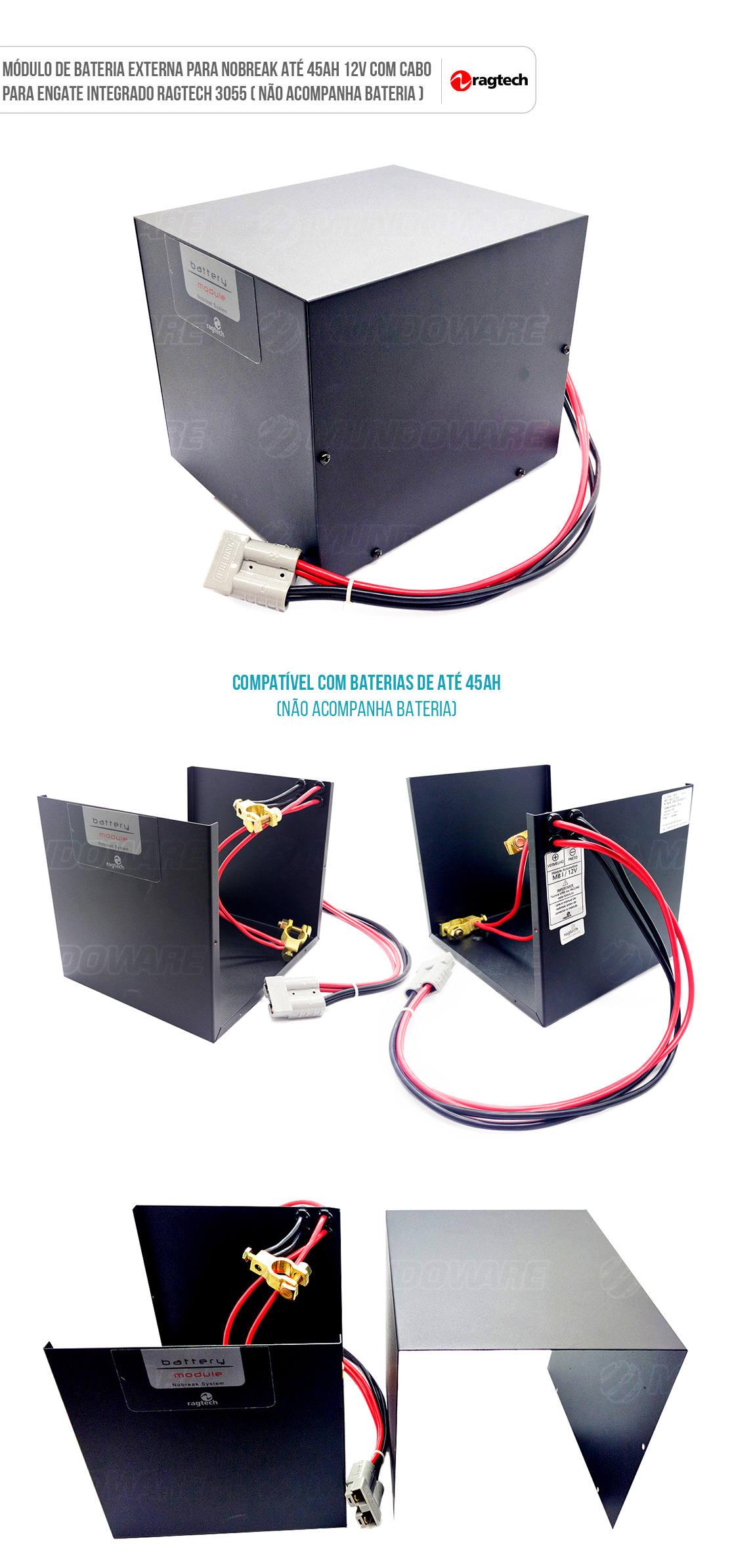 Módulo para Bateria de Nobreak externa com cabo de conexão integrado