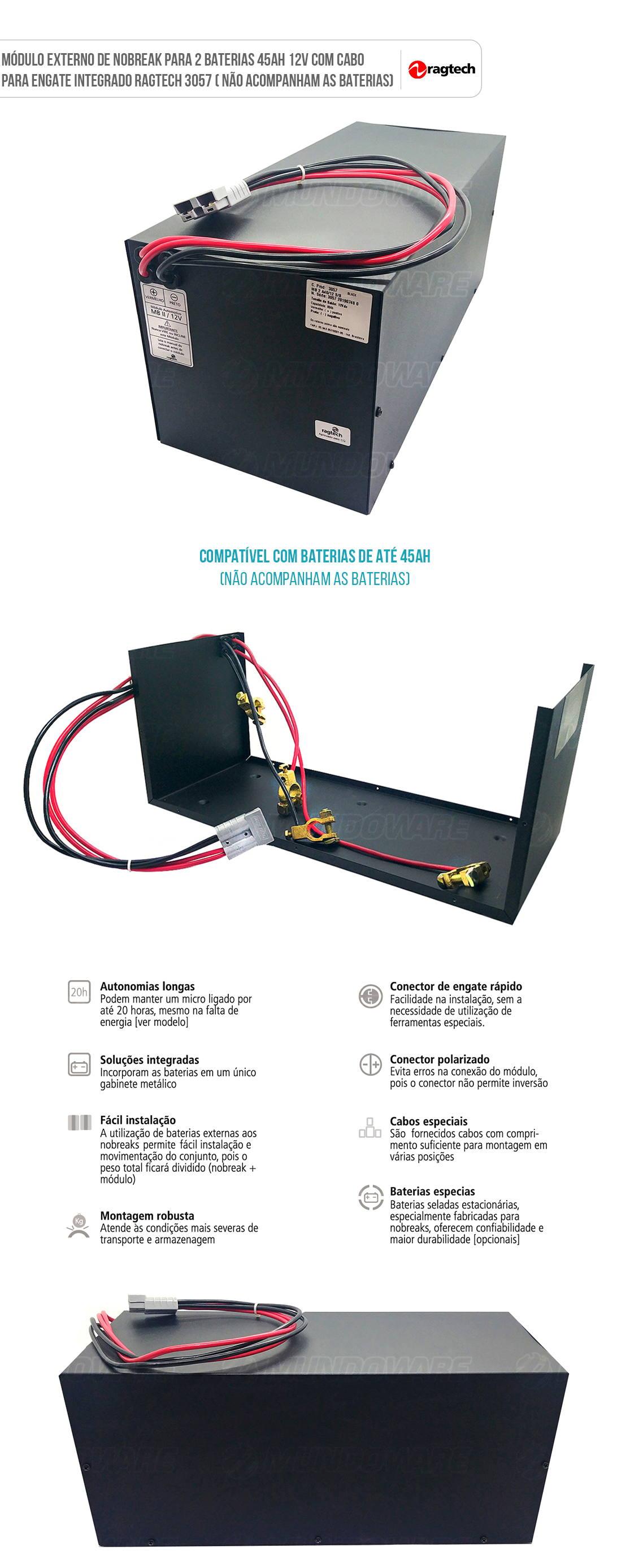 Módulo Externo de Nobreak para 2 Baterias 40Ah 12V Cabo de Engate Integrado Ragtech MB 2 A40/12 3057 (Sem Baterias)