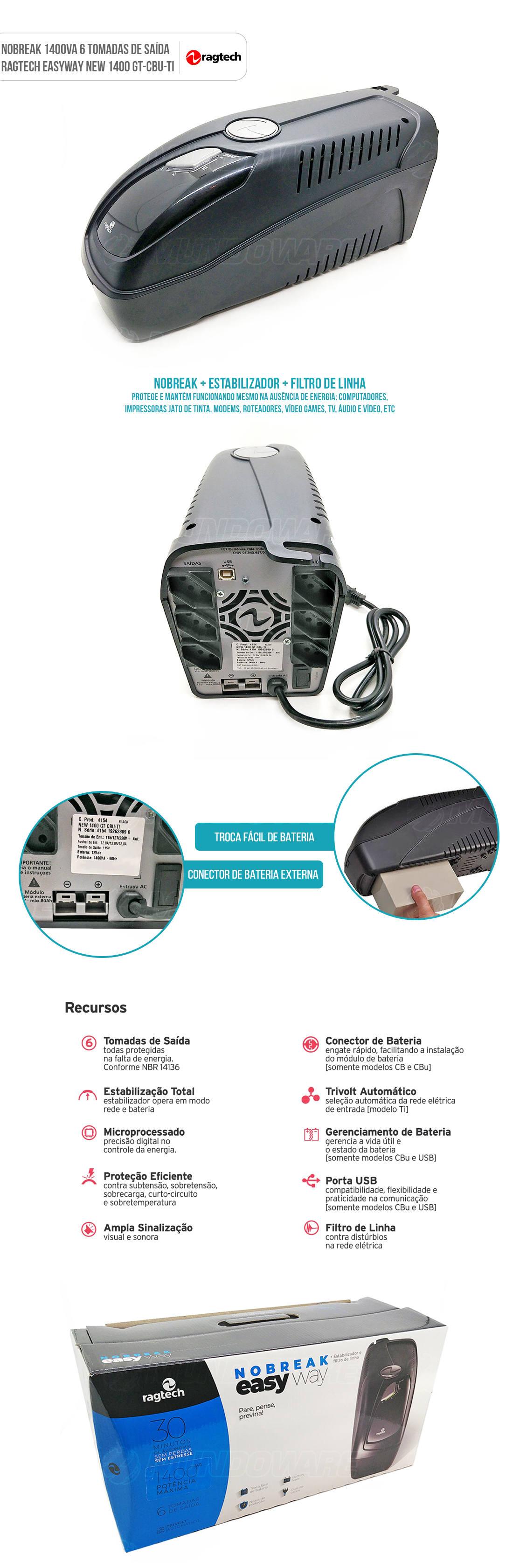 Nobreak Ragtech 1400VA com 6 Tomadas e Conector para Bateria Externa