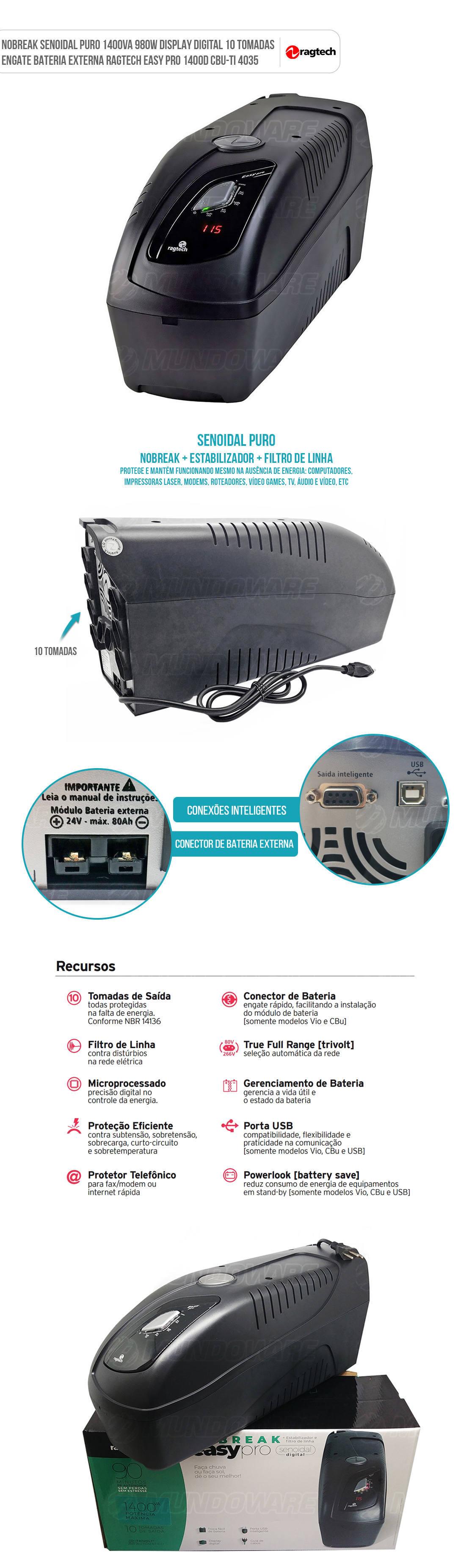 Nobreak 1400VA Senoidal Puro 10 Tomadas Trivolt EasyPro + Engate para Bateria Externa