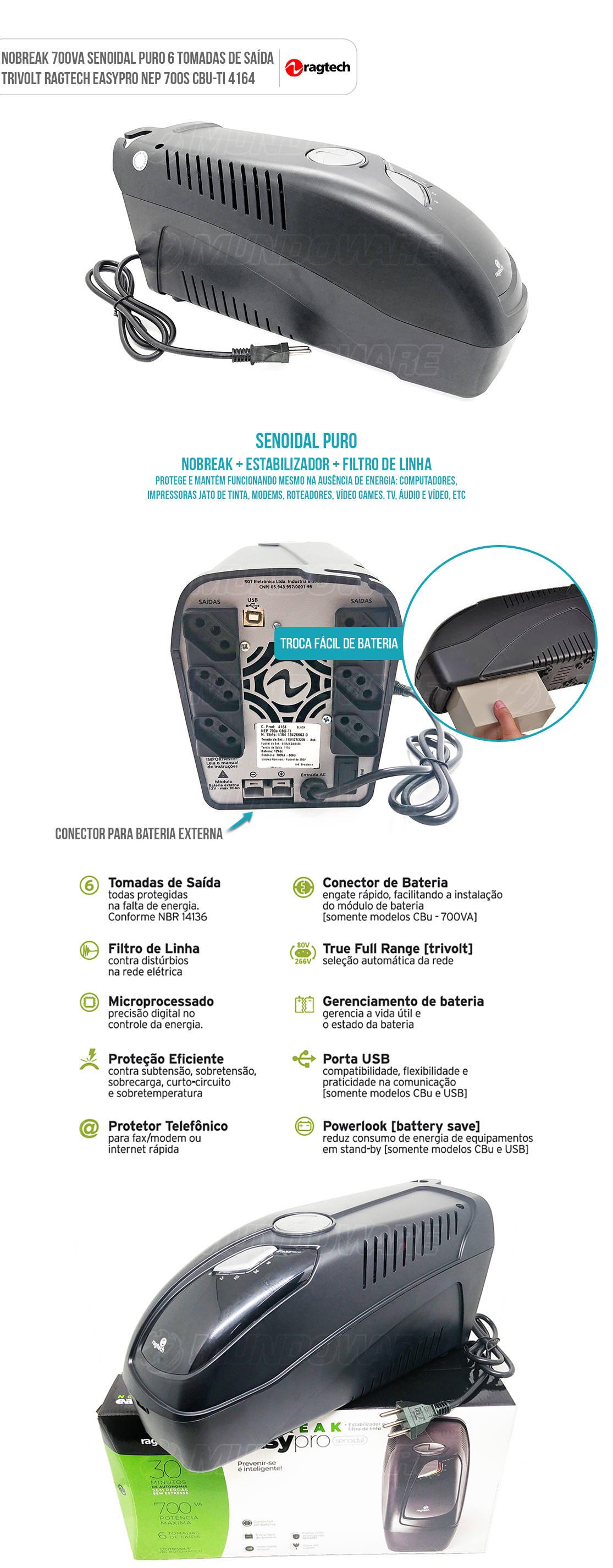 Nobreak 700VA Senoidal Puro Engate de Bateria Externa Trivolt 4164