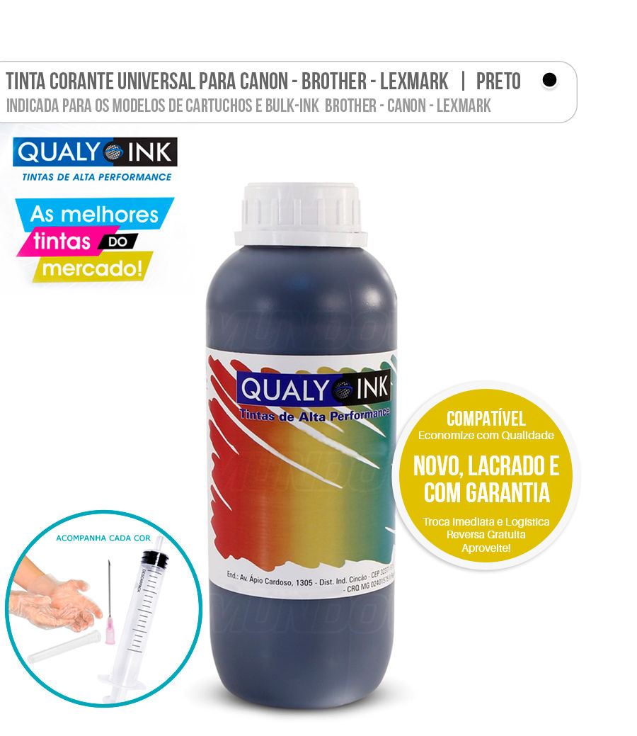 Tinta Corante Universal para Brother Canon Lexmark Black
