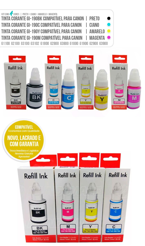 Kit Colorido de Tinta Compatível Corante para Canon G1000 G1100 G2100 G3100 G3102 G1800 G2800 G3800 G1900 G2900 G3900