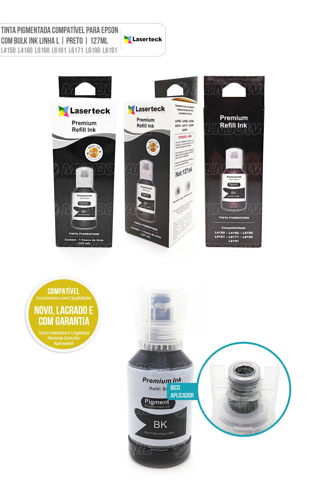 Tinta Preta Pigmentada Compatível para impressora Jato de Tinta com Bulk Ink Linha L modelos L4150 L4160 L6160 L6161 L6171 L6190 L6191 L 4150 L 4160 L 6160 L 6161 L 6171 L 6190 L 6191