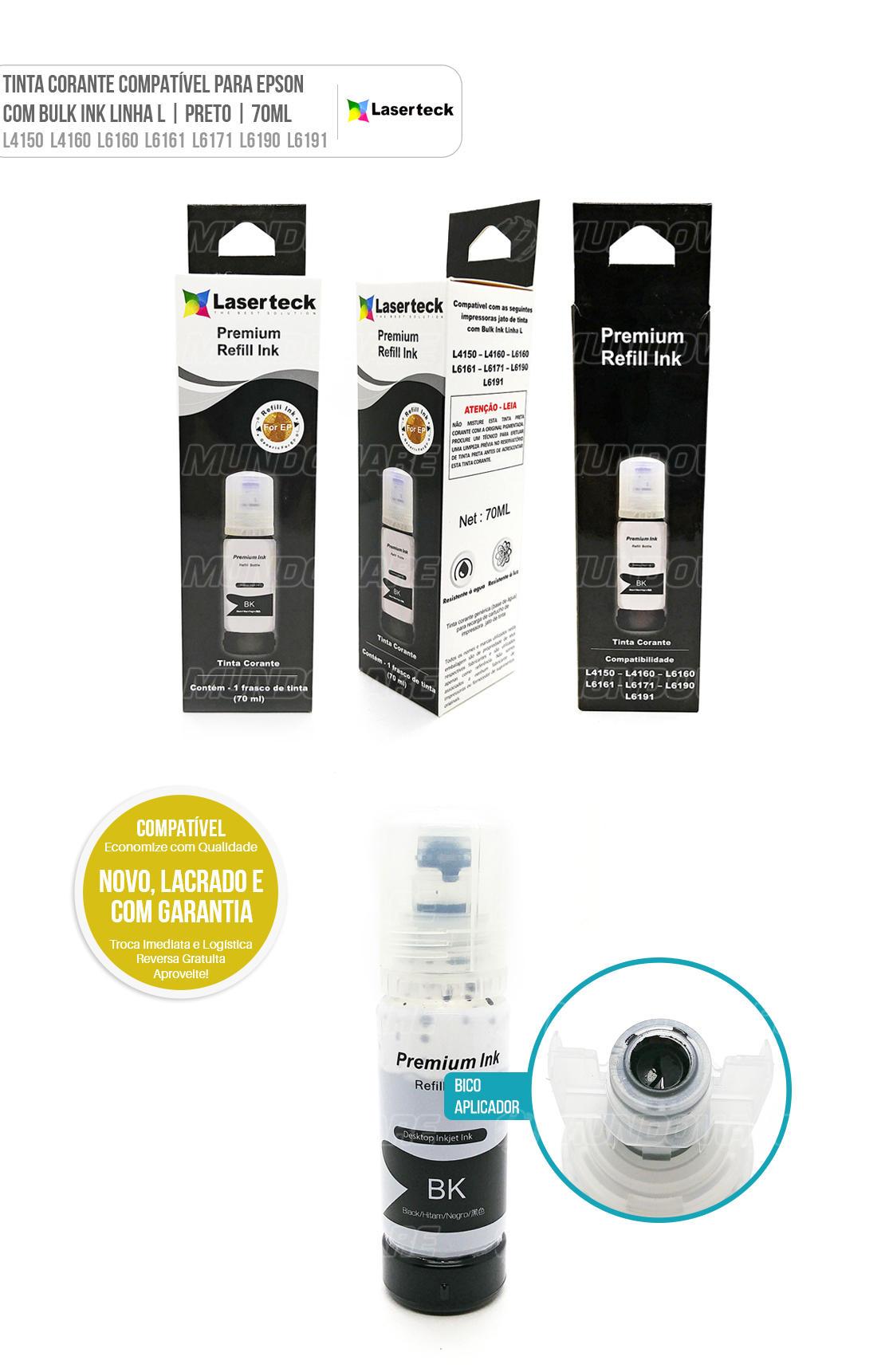 Tinta Preta Corante Compatível para impressora Jato de Tinta com Bulk Ink Linha L modelos L4150 L4160 L6160 L6161 L6171 L6190 L6191 L 4150 L 4160 L 6160 L 6161 L 6171 L 6190 L 6191