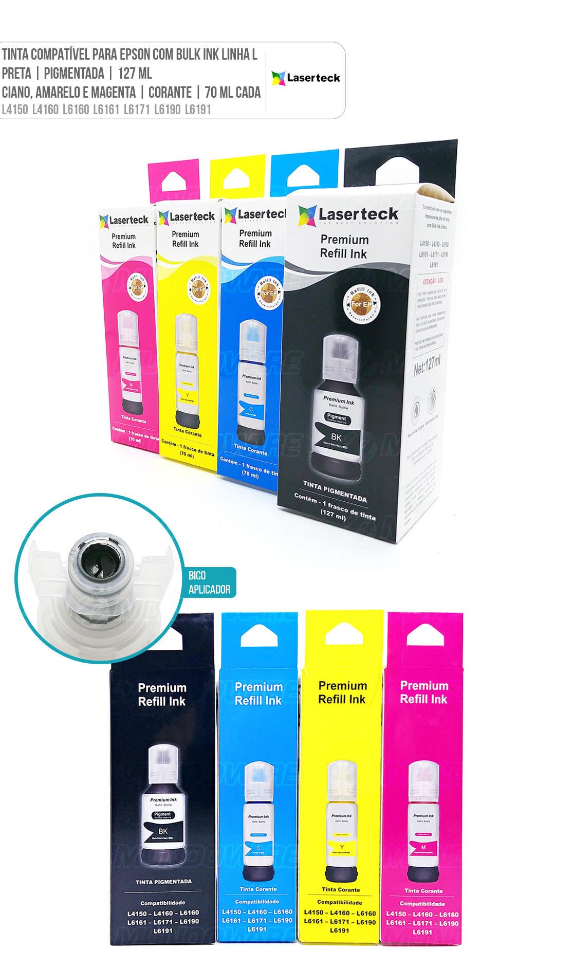 Kit Colorido 4 cores de Tinta Compatível para impressora Jato de Tinta com Bulk Ink Linha L modelos L4150 L4160 L6160 L6161 L6171 L6190 L6191 L 4150 L 4160 L 6160 L 6161 L 6171 L 6190 L 6191