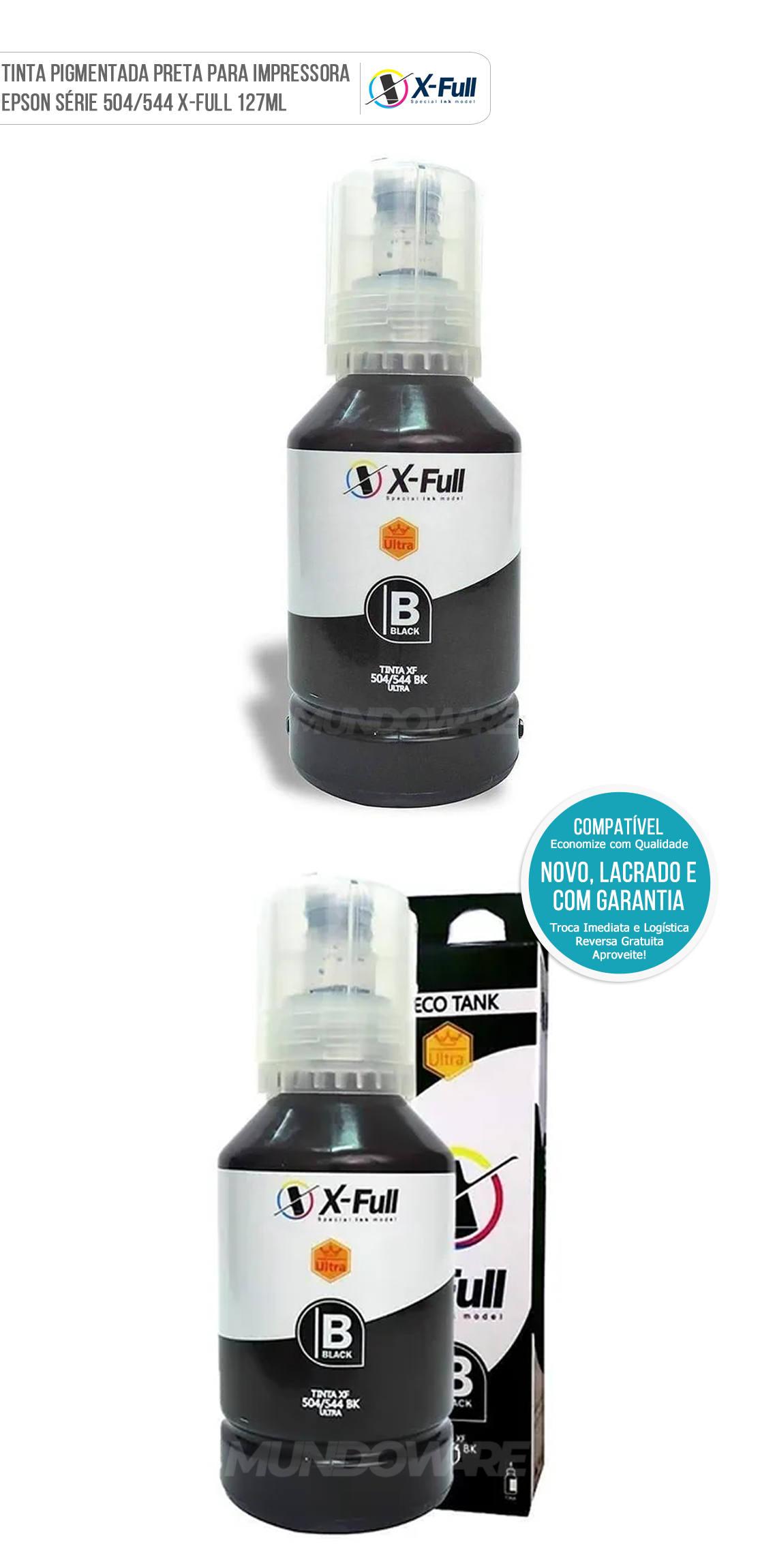 Refil de Tinta Black Pigmentada para Impressora Tanque de Tinta série L 504 544 Marca X-Full Ultra