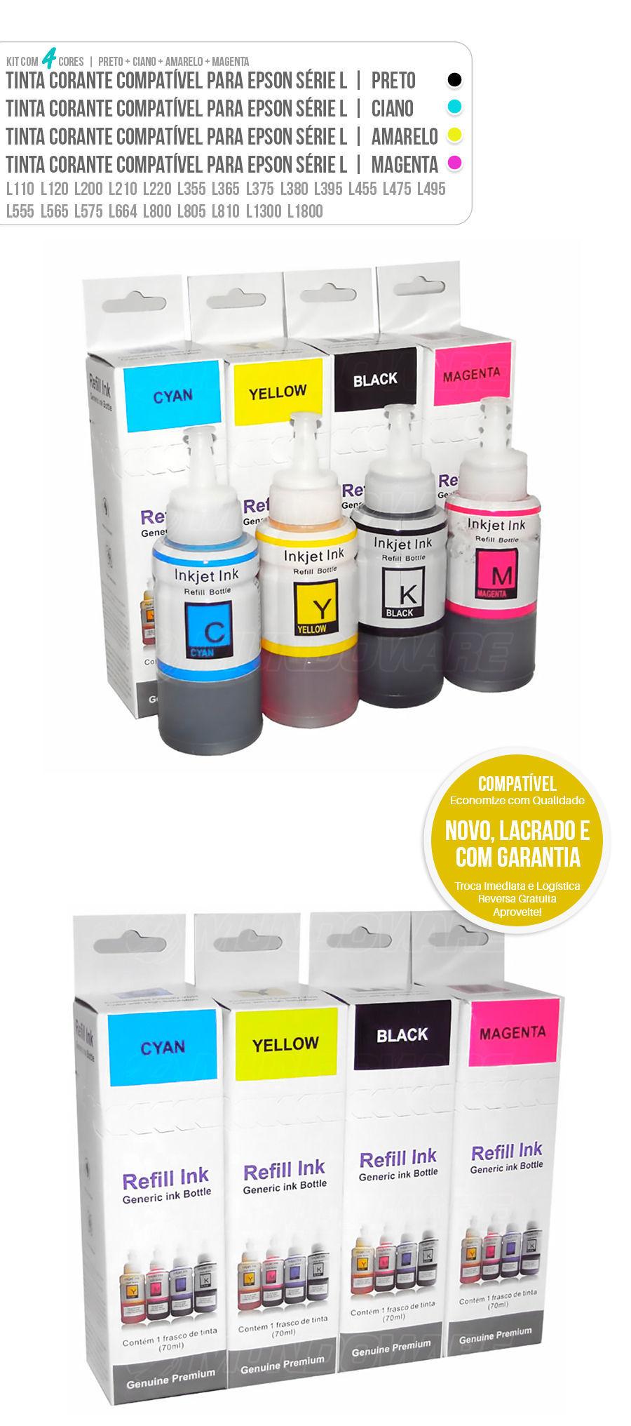 Kit Colorido de Tinta Compatível para Epson Ecotank série L L200 L210 L220 L355 L365 L375 L555 L575 L800 L805 L1300