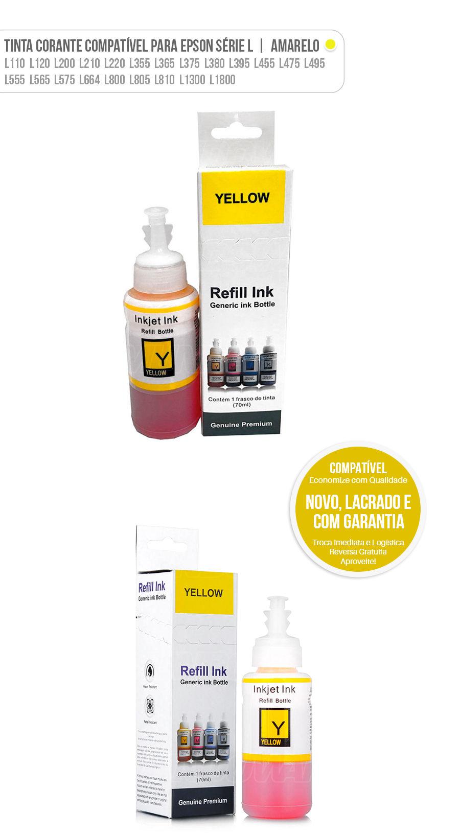 Refil de Tinta Corante Amarelo Compatível para Epson Ecotank série L L200 L210 L220 L355 L365 L375 L555 L575 L800 L805 L1300