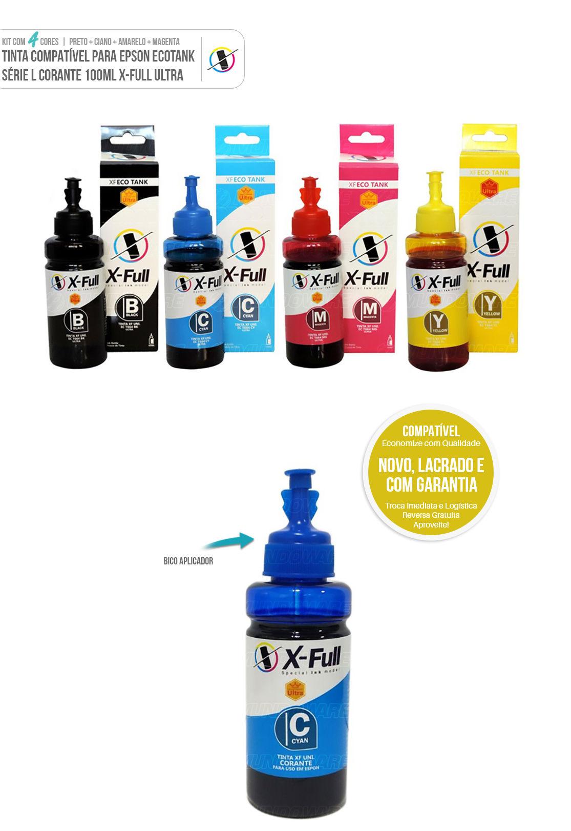 Kit Colorido 4 cores de Tinta Compatível para Epson Ecotank Ultra série L L200 L210 L220 L355 L365 L375 L555 L575 L800 L805 L1300
