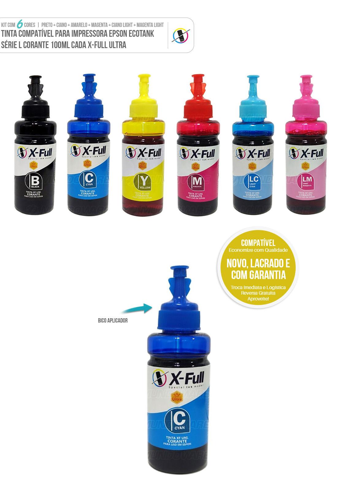 Kit Colorido 6 cores de Tinta Compatível Corante Ultra para Epson Ecotank L800 L805 L810 L850 L1800