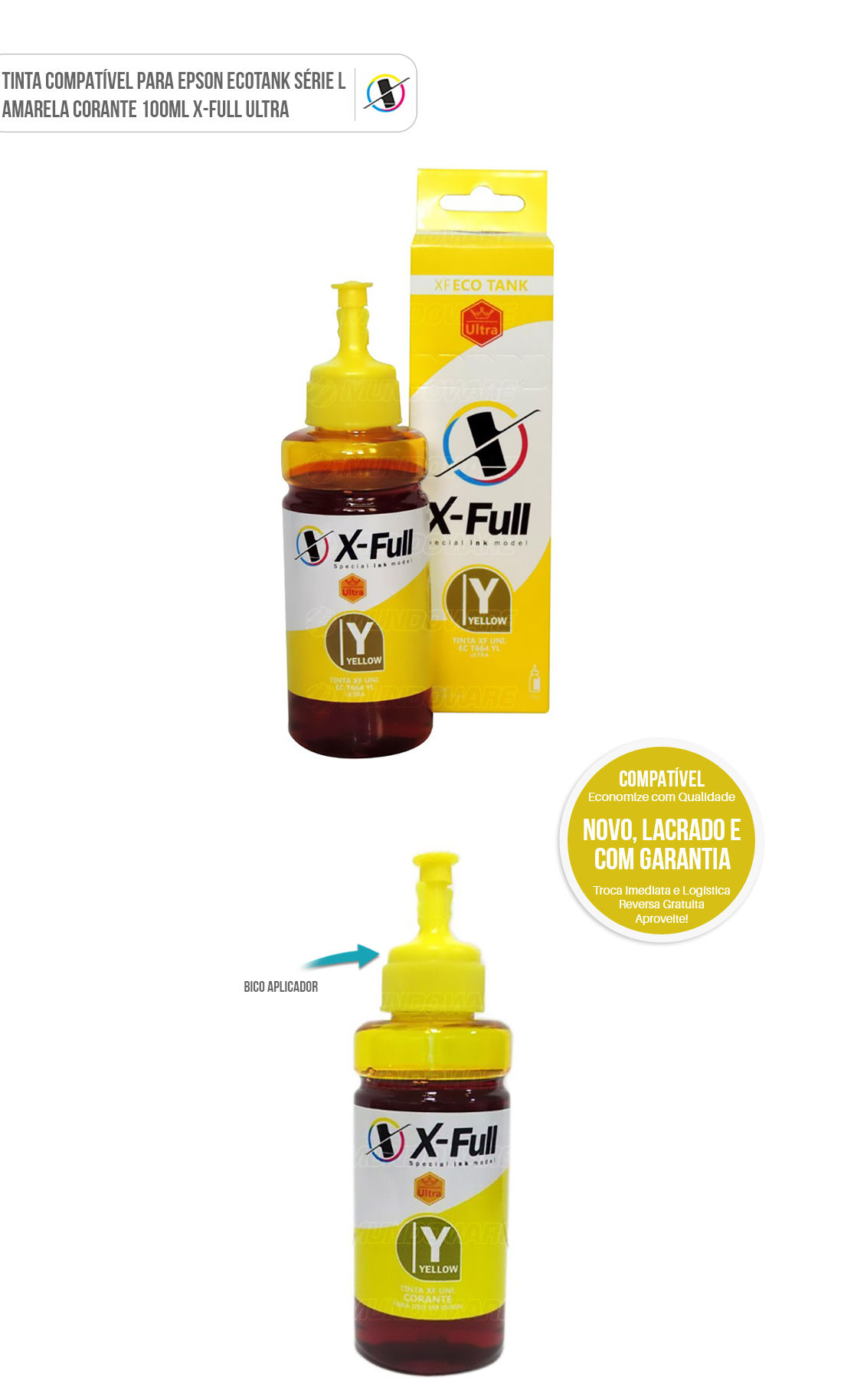 Tinta Refil Corante Ultra Amarelo Compatível para Epson Ecotank série L L200 L210 L220 L355 L365 L375 L555 L575 L800 L805 L1300