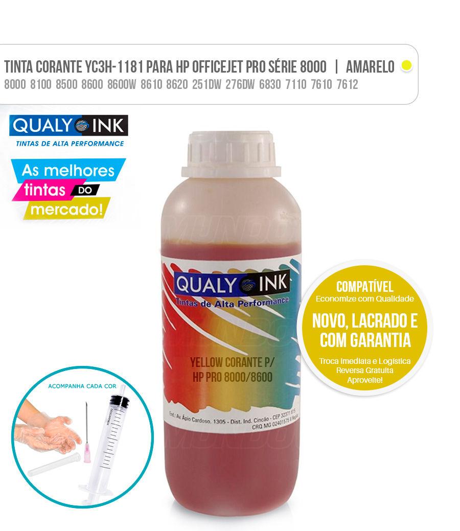 Tinta Yellow Corante para Bulk-ink impressoras HP Officejet Pro 8000 8100 8500 8600 8600W 8610 8620 251DW 276DW 6830 7110 7610 7612