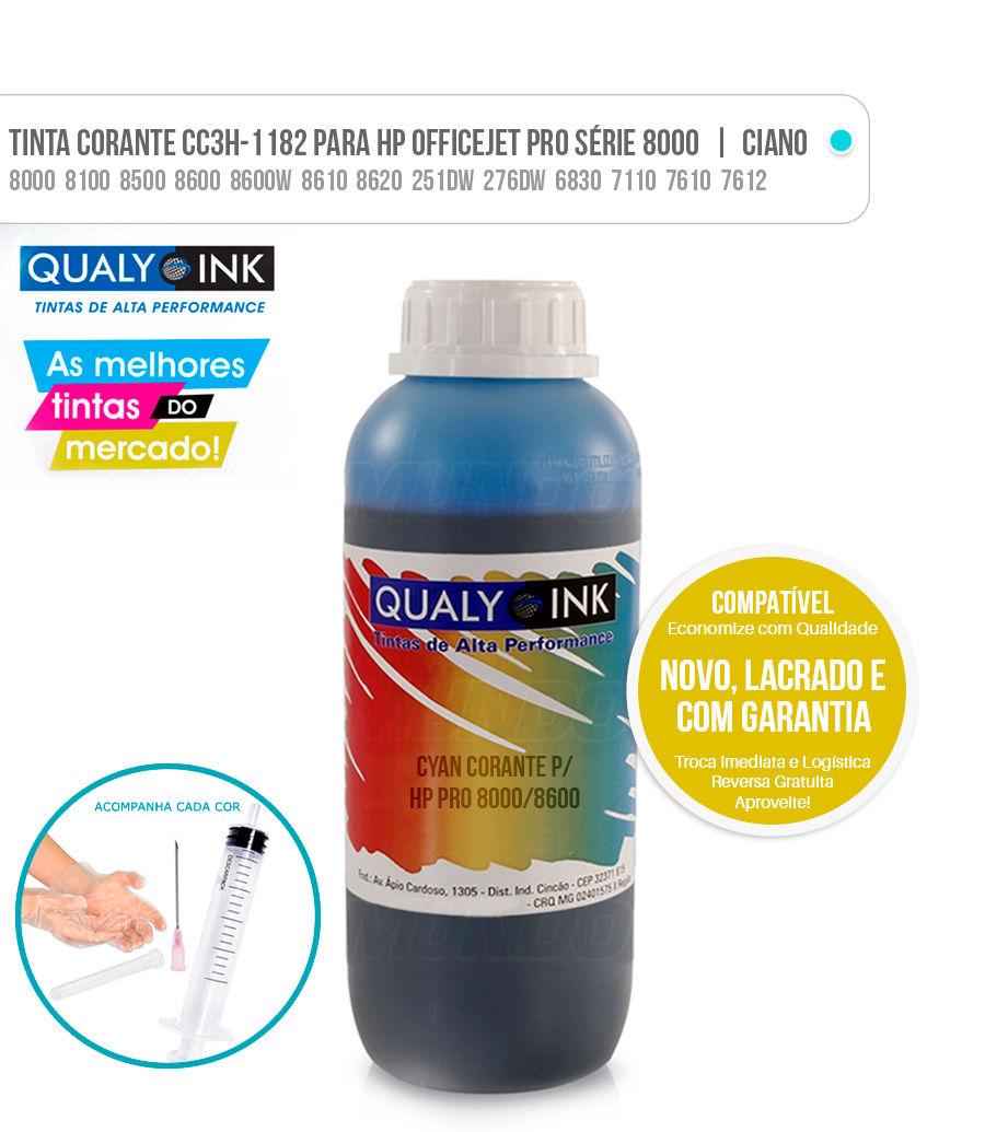 Tinta Cyan Corante para Bulk-ink impressoras HP Officejet Pro 8000 8100 8500 8600 8600W 8610 8620 251DW 276DW 6830 7110 7610 7612 Ciano