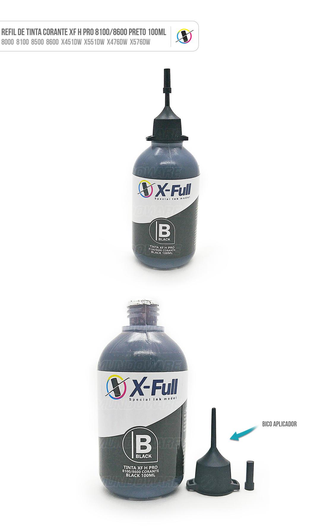 Tinta Preta Corante para Bulk-ink Tanque de Tinta impressora 8000 8100 8500 8600 X451dw X551dw X476dw X576dw