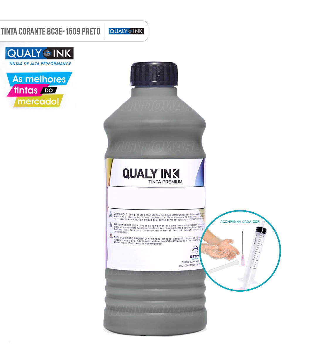 Refil de Tinta Qualy-Ink Preta Corante para Epson série 664 impressoras L100 L110 L120 L200 L210 L220 L300 L355 L365 L375 L380 L395 L396 L455 L475 L495 L550 L555 L565 L575 L606