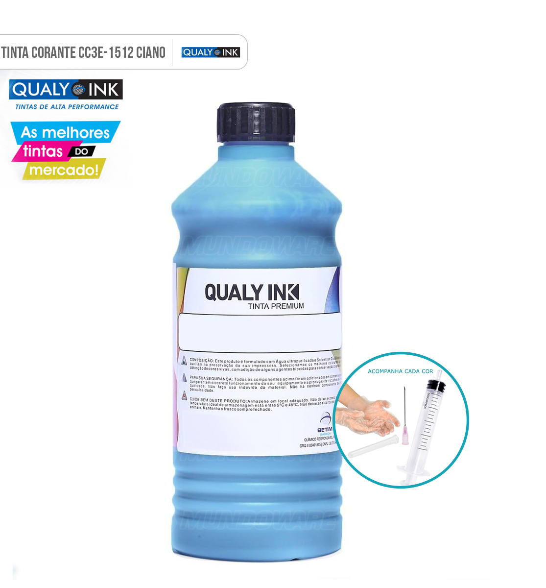 Refil de Tinta Qualy-Ink Ciano Corante para Epson série 664 impressoras L100 L110 L120 L200 L210 L220 L300 L355 L365 L375 L380 L395 L396 L455 L475 L495 L550 L555 L565 L575 L606
